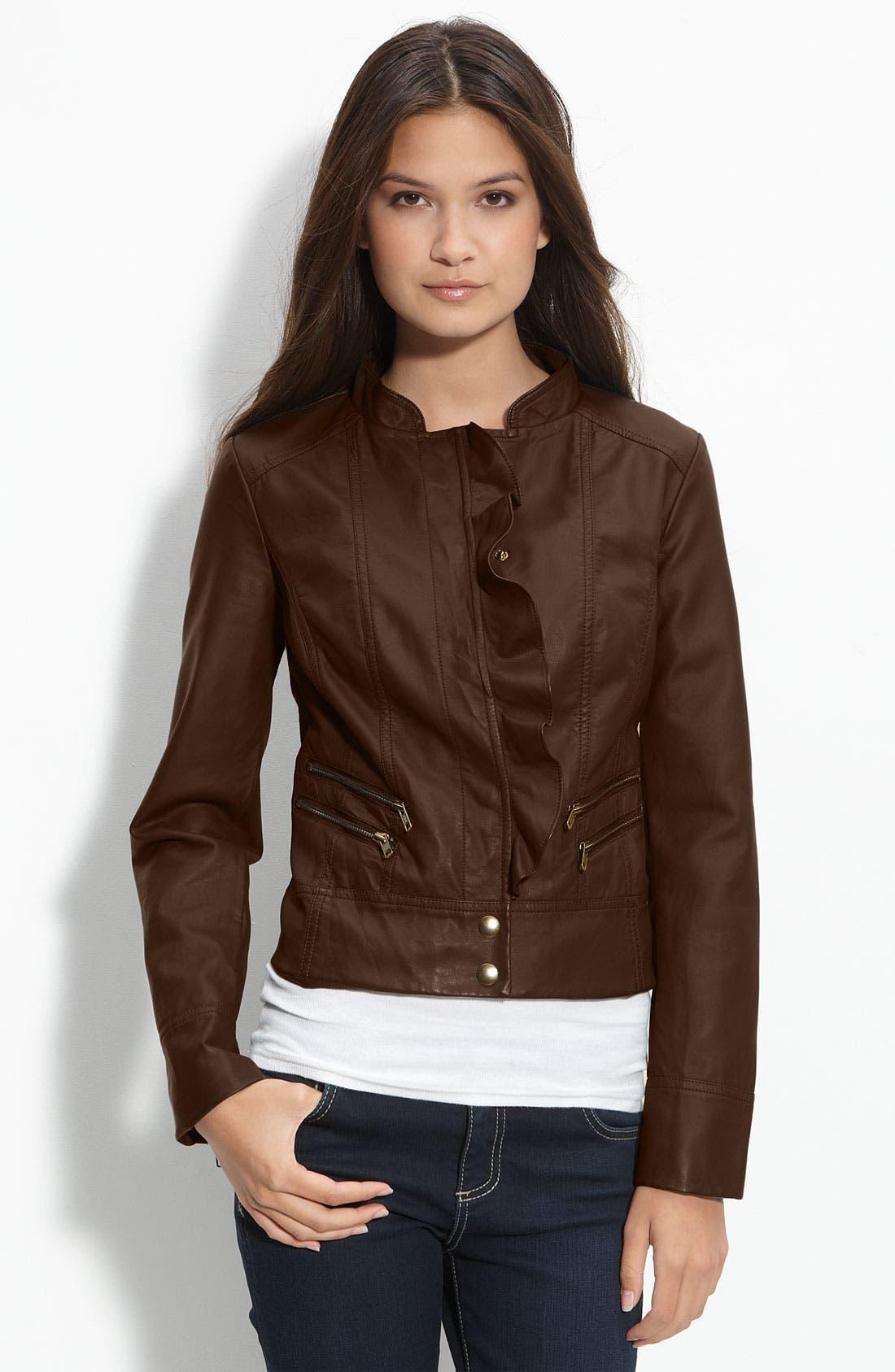 Main Image - Caslon® Ruffled Faux Leather Jacket