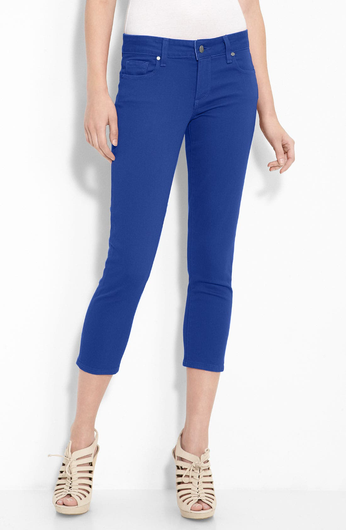 Alternate Image 1 Selected - Paige Denim 'Roxbury' Stretch Denim Crop Jeans (Tilt Wash)