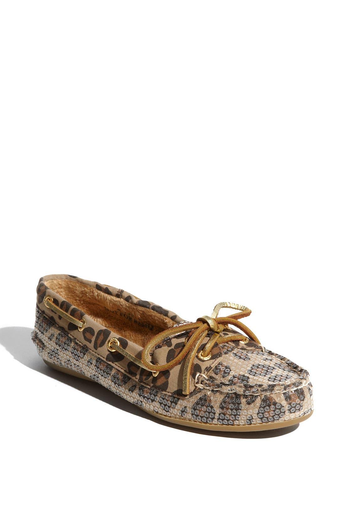 Top-Sider<sup>®</sup> 'Skiff' Moccasin Slip-On,                         Main,                         color, Leopard Sequins