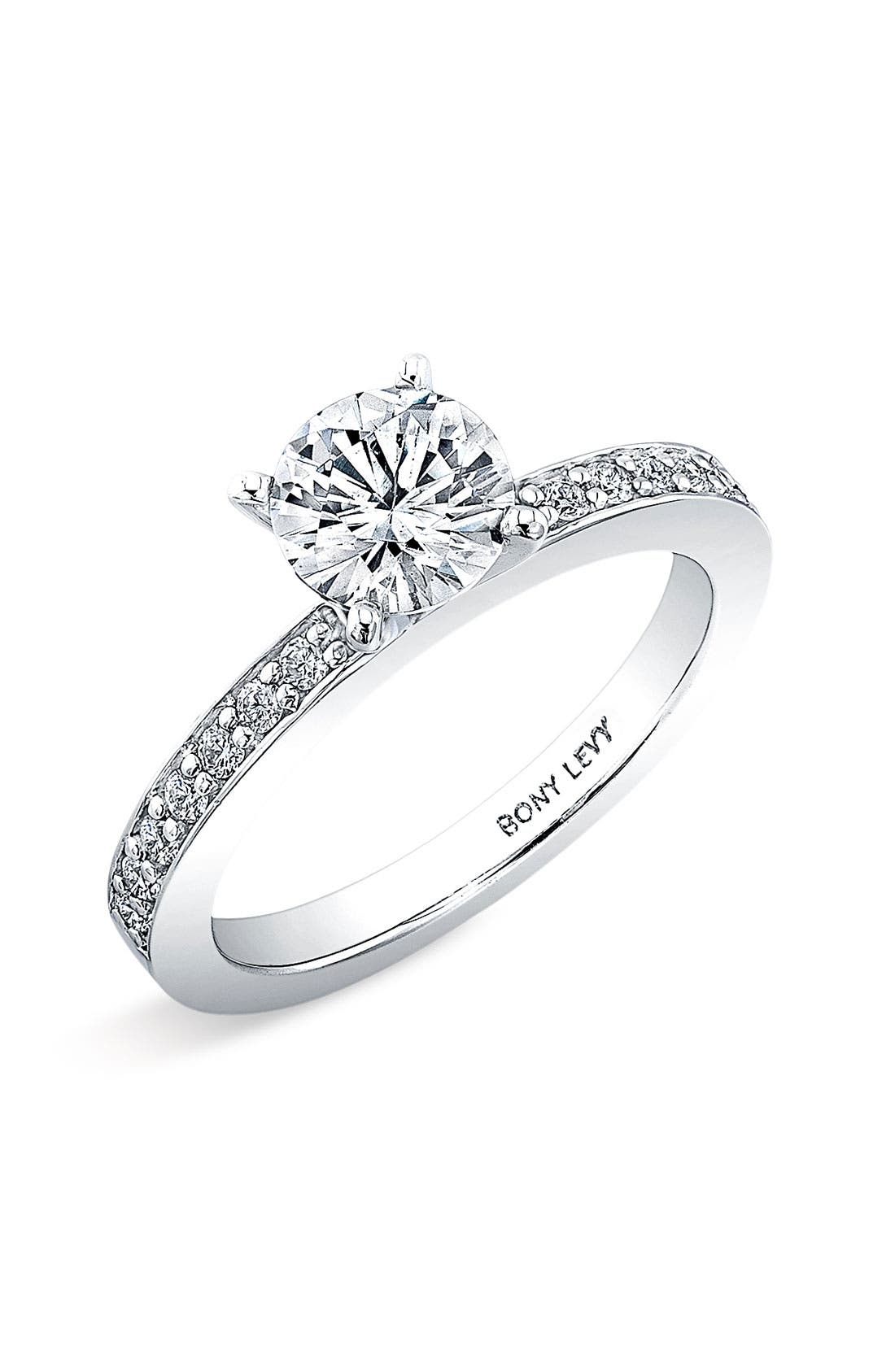 Channel Set Diamond Engagement Ring Setting,                         Main,                         color, White Gold