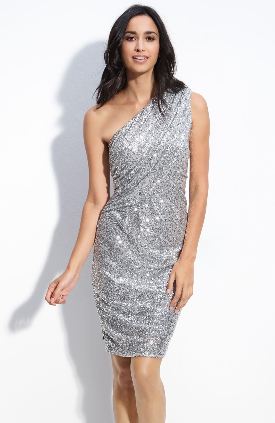 Alternate Image 1 Selected - Calvin Klein Sequin One Shoulder Dress