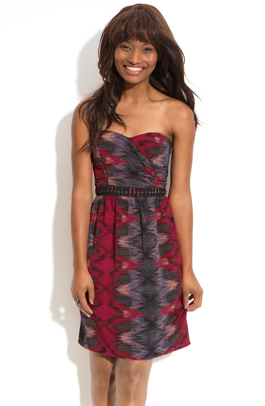 Main Image - Fire Hardware Detailed Strapless Dress (Juniors)