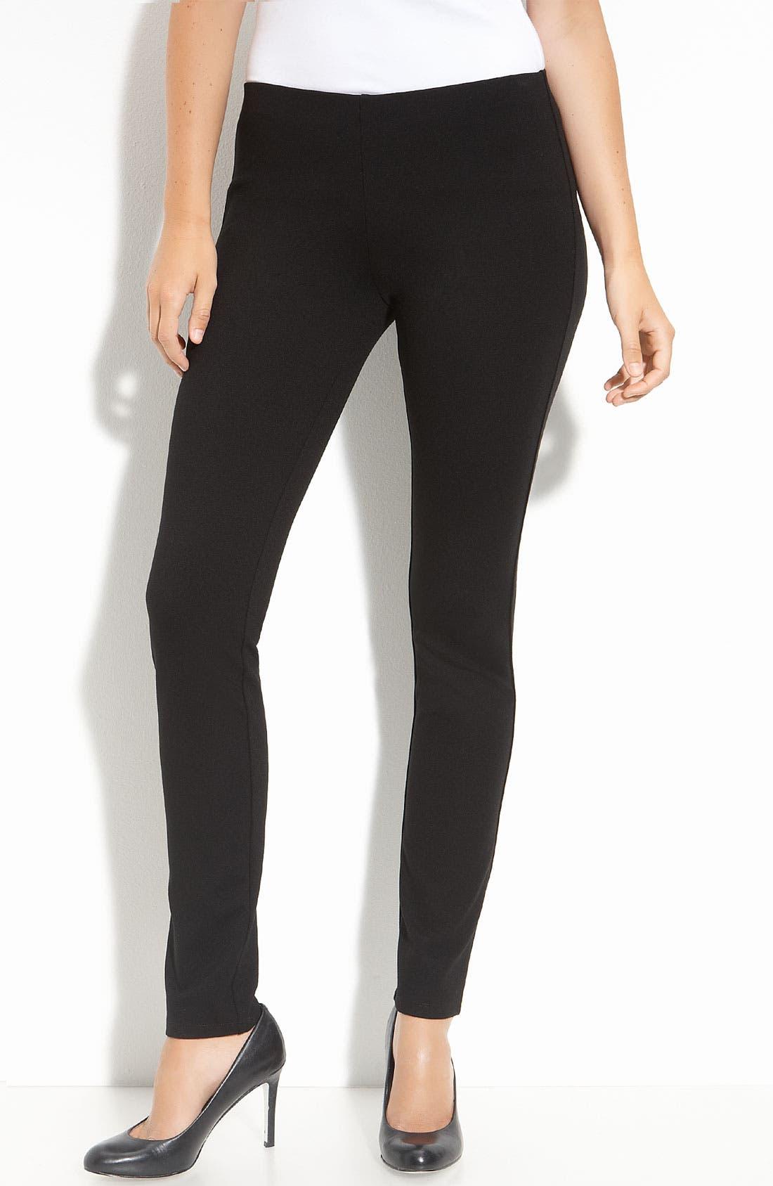 Slim Ponte Knit Pants,                         Main,                         color, Black