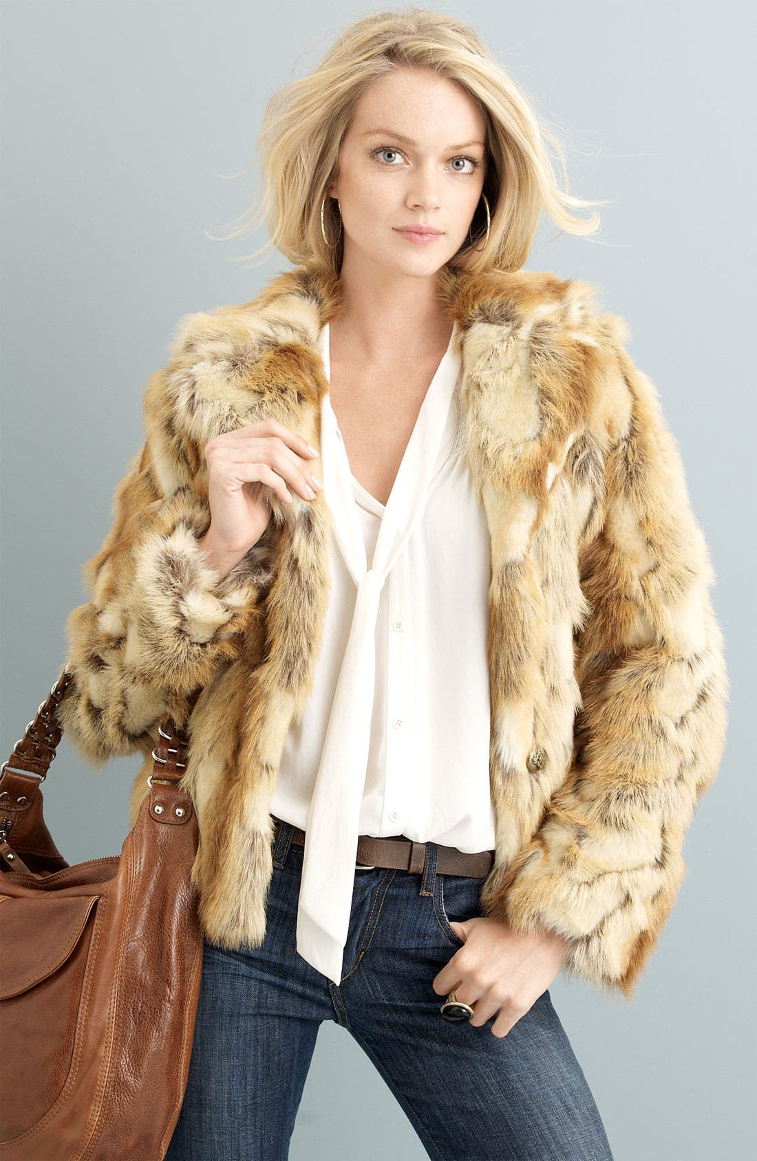 Alternate Image 2  - GUESS Pieced Faux Rabbit Fur Jacket