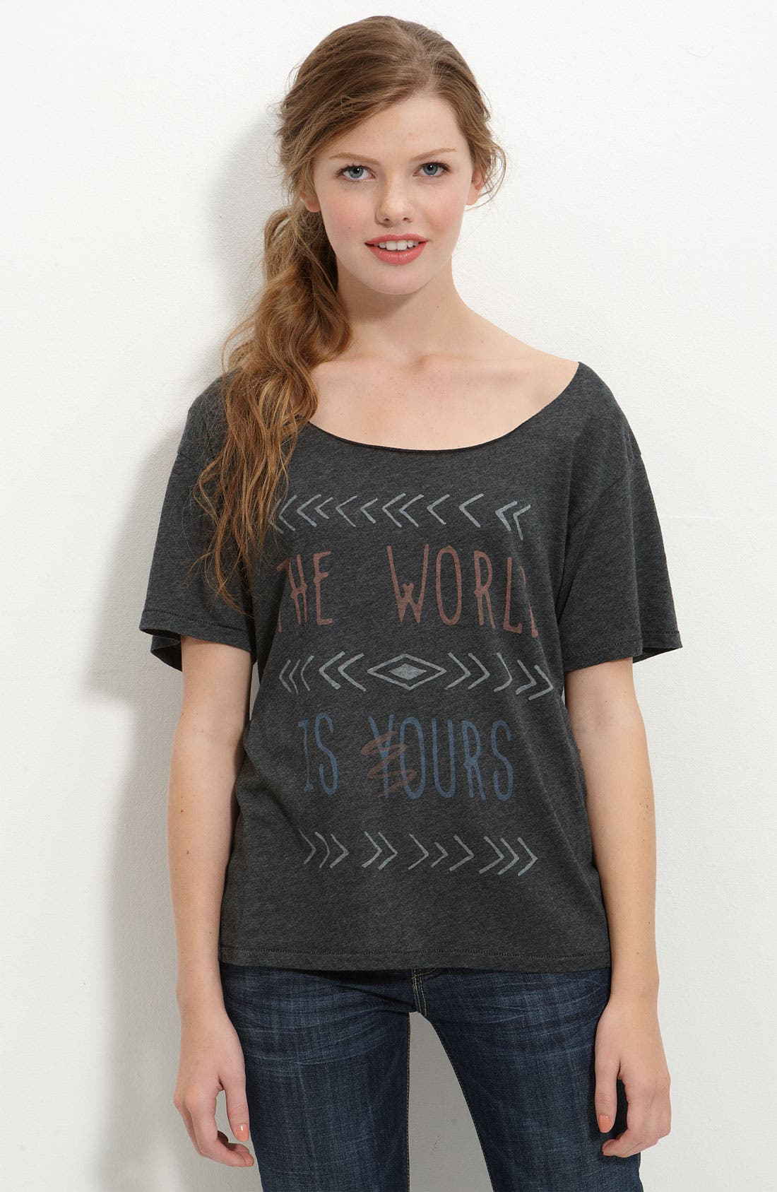 Main Image - Junk Food 'The World Is Yours' Slouchy Graphic Tee (Juniors)