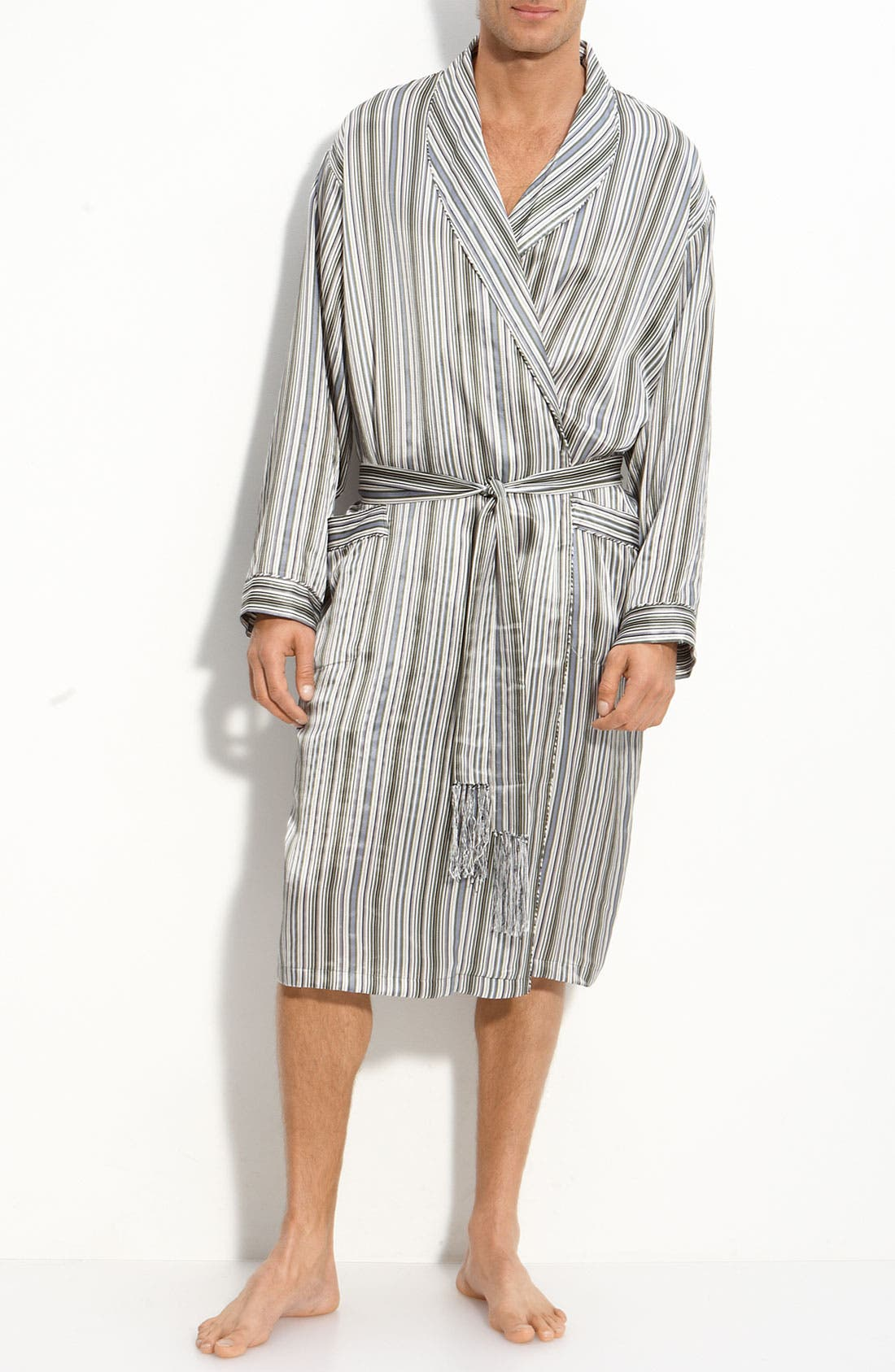Main Image - Majestic International 'Anderson' Stripe Silk Robe