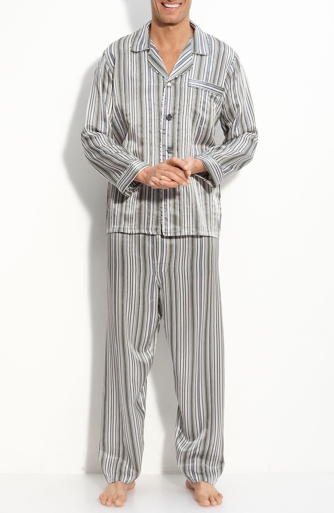 Alternate Image 1 Selected - Majestic International 'Anderson' Stripe Silk Pajamas