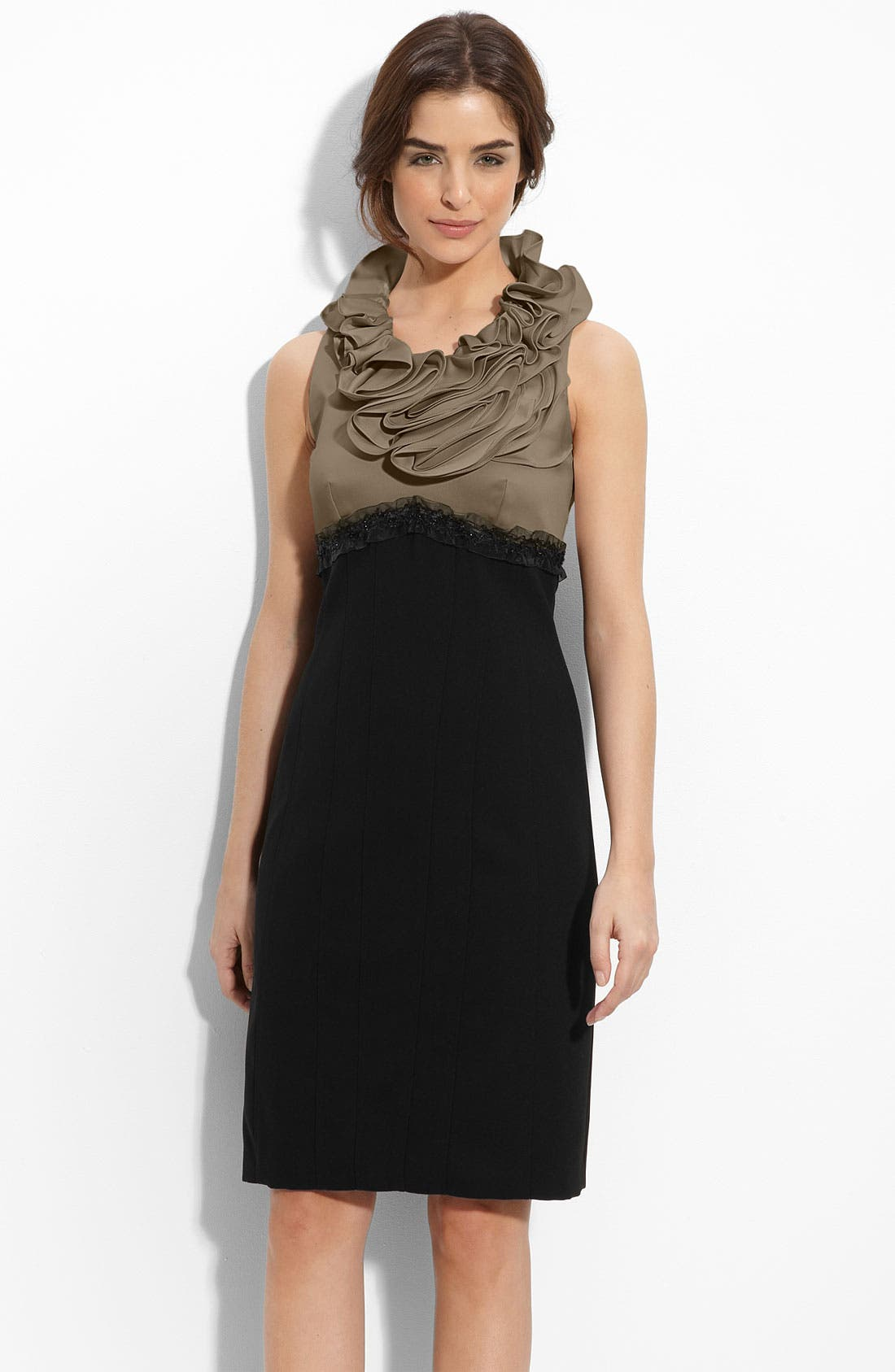 Main Image - JS Collections Ruffle Neck Satin & Crepe Sheath Dress