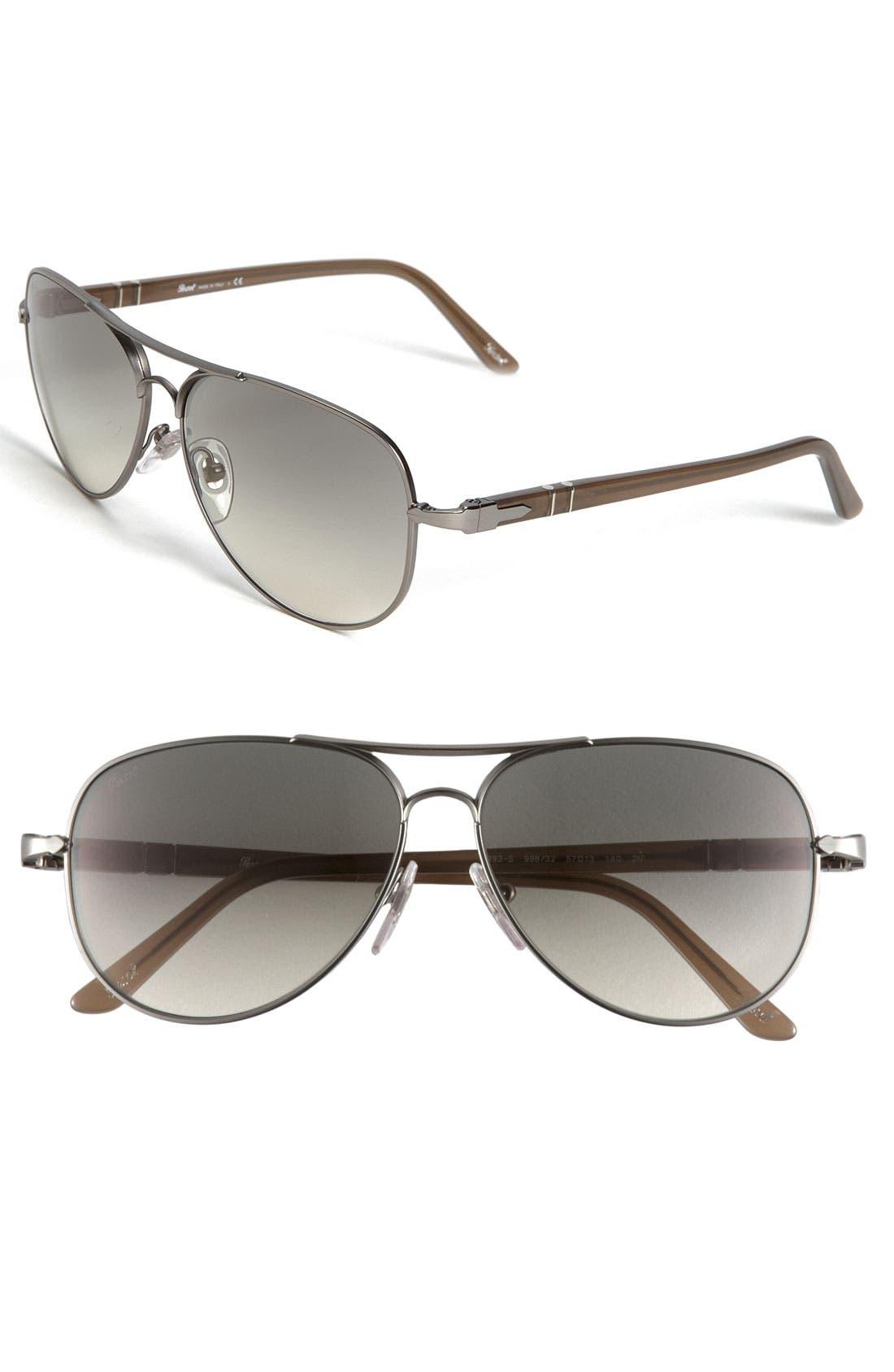 Alternate Image 1 Selected - Persol 57mm Metal Aviator Sunglasses