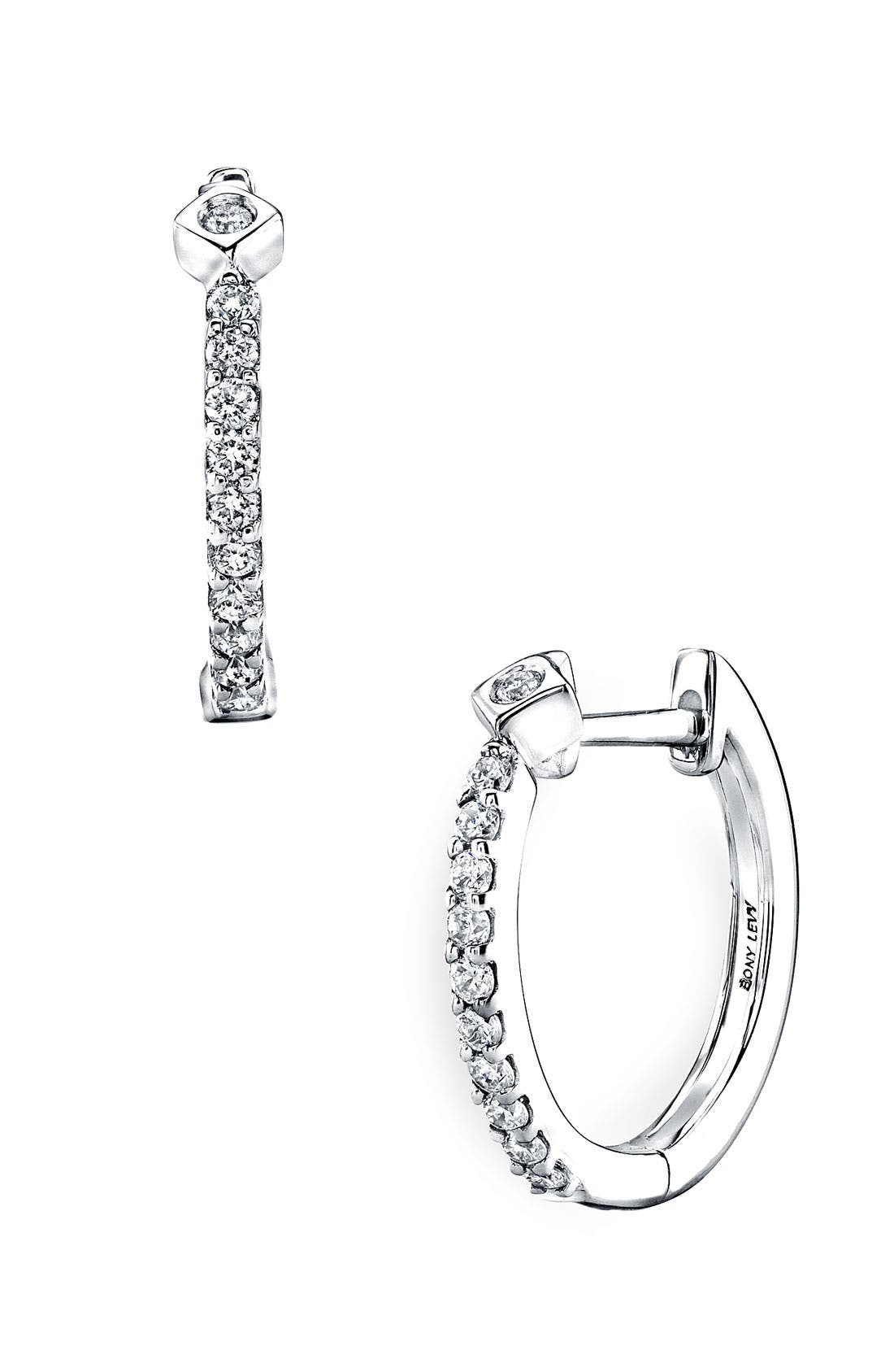 Alternate Image 1 Selected - Bony Levy Diamond Hoop Earrings (Nordstrom Exclusive)