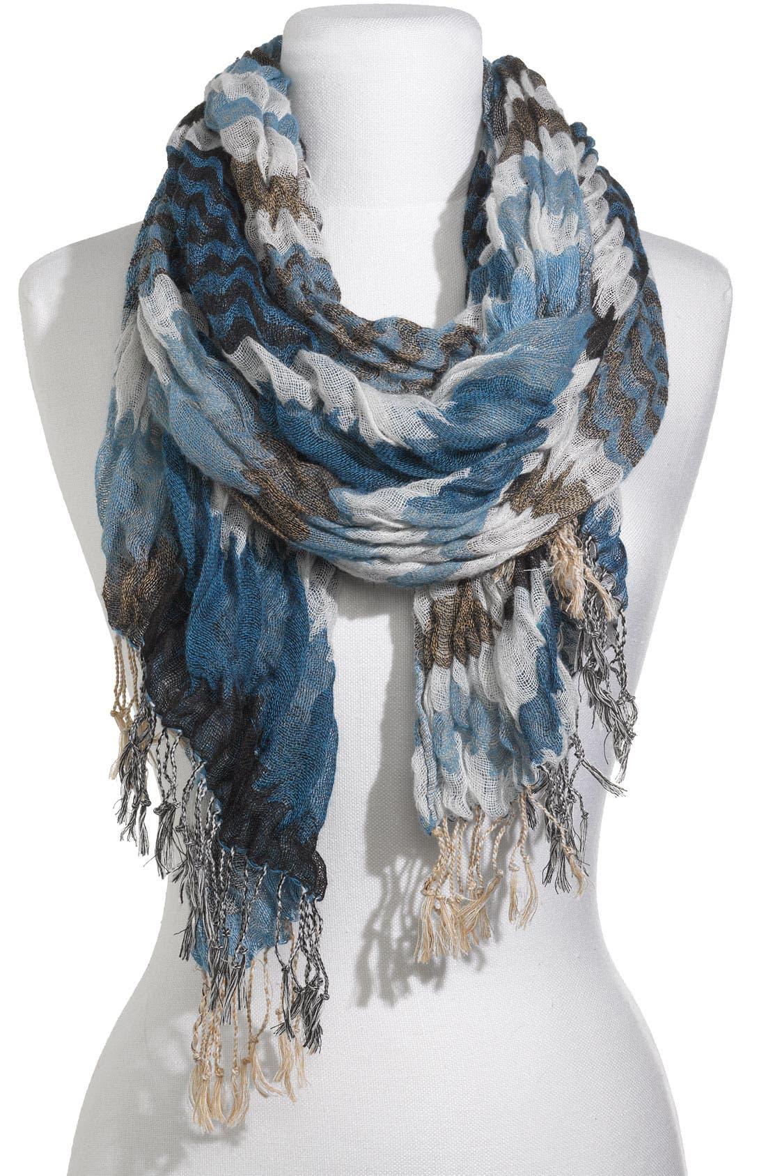 Stripe Crinkled Gauze Scarf,                         Main,                         color, Blue
