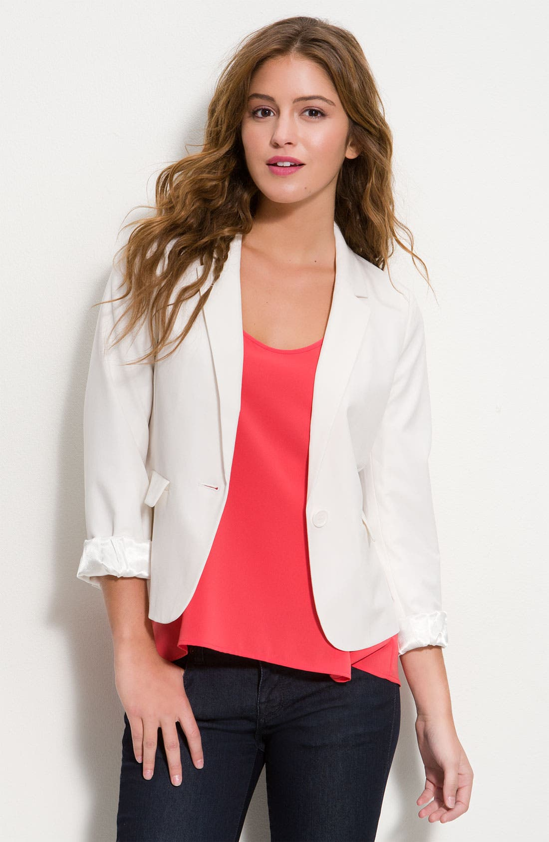 One Button Blazer,                             Main thumbnail 1, color,                             Ivory