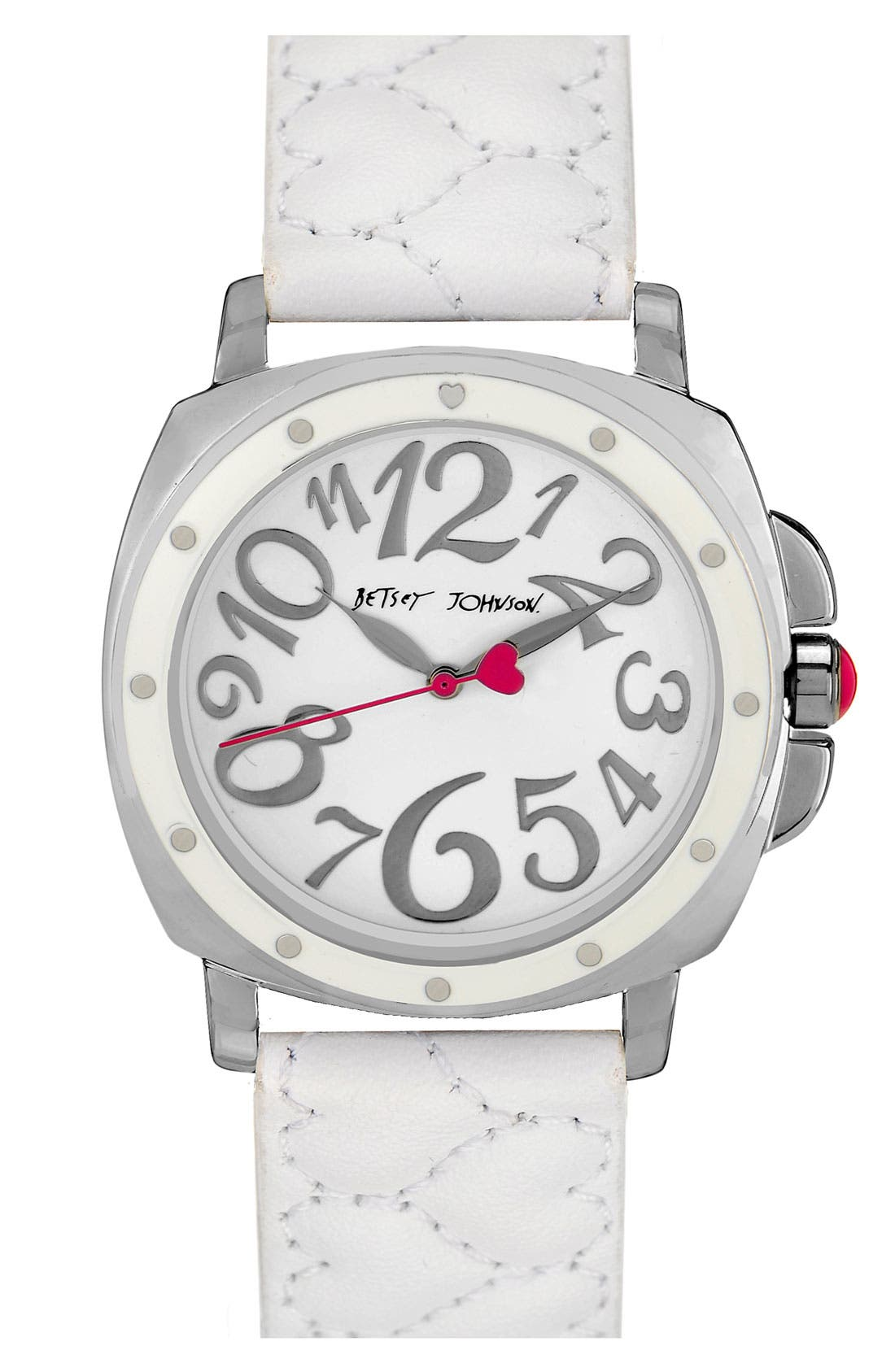 Alternate Image 1 Selected - Betsey Johnson 'Lots 'n' Lots of Time' Quilted Strap Watch, 37mm