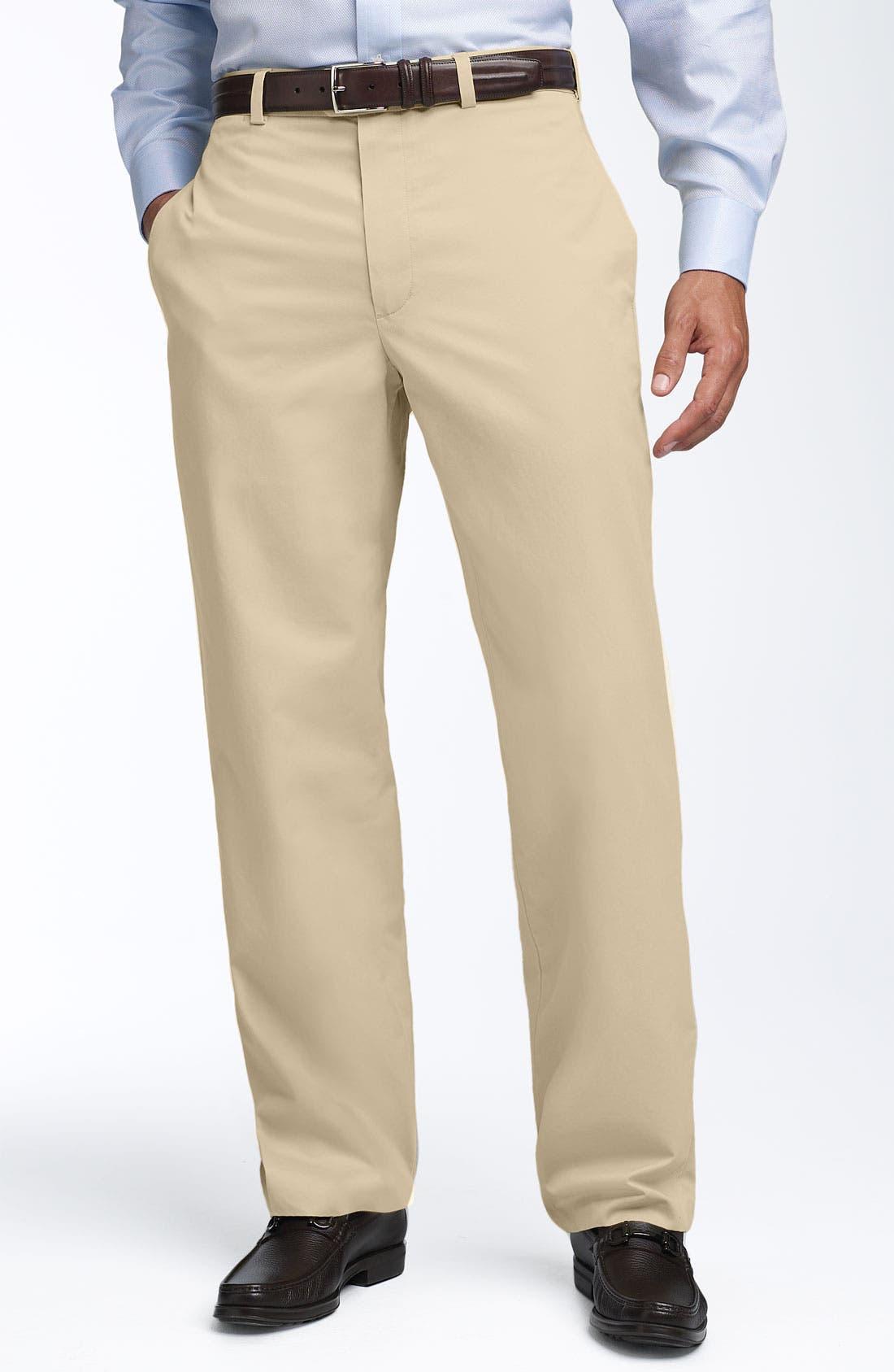 Alternate Image 1 Selected - John W. Nordstrom® Smartcare™ Flat Front Supima® Cotton Pants