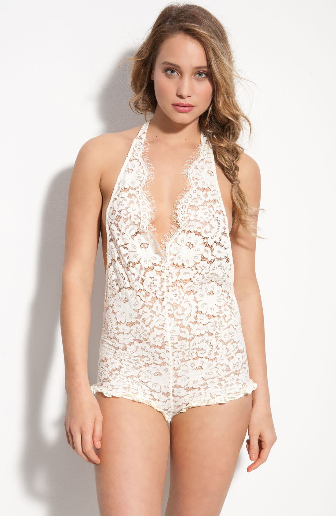 'All Things Nice' Lace Teddy,                         Main,                         color, Sugar