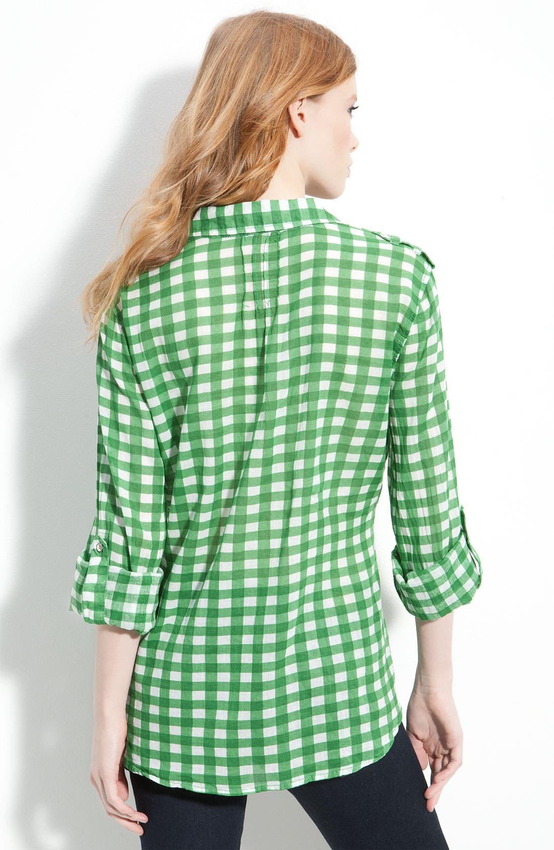 Gingham Check Western Pocket Shirt,                             Alternate thumbnail 2, color,                             Green Gingham