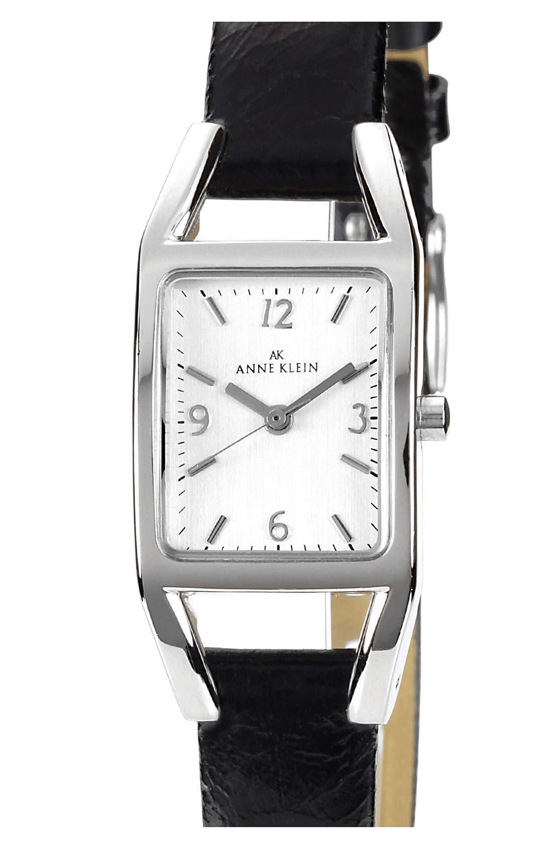 Main Image - Anne Klein Rectangular Leather Strap Watch
