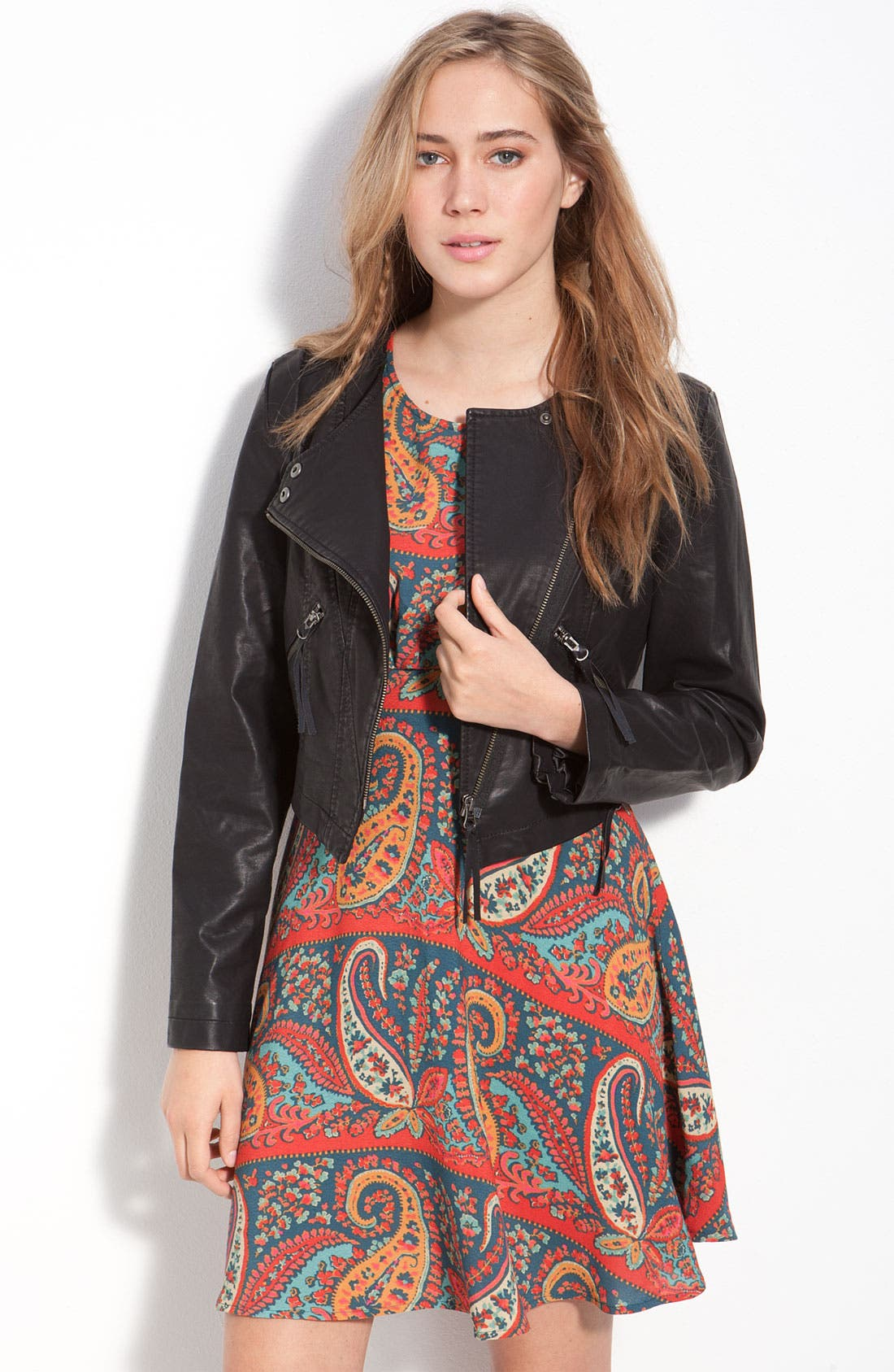 Alternate Image 1 Selected - Free People Vintage Cropped Faux Leather Jacket