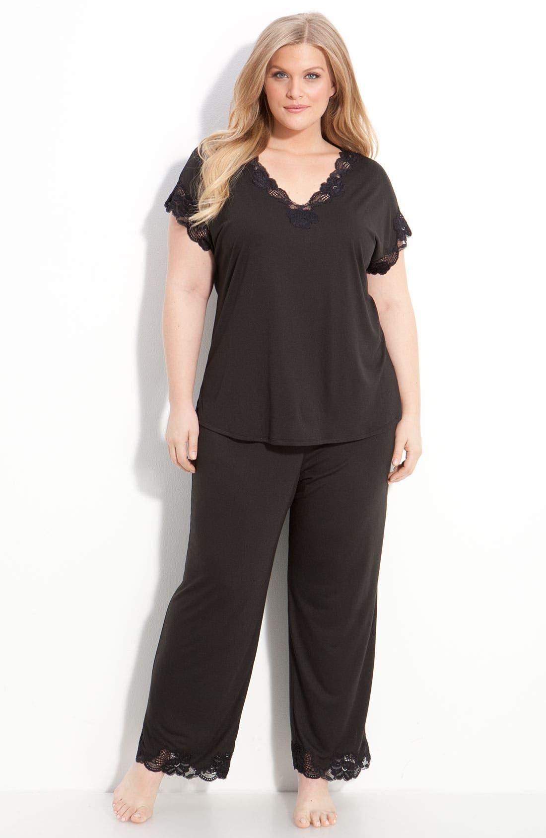 'Zen Floral' Pajamas,                         Main,                         color, Black