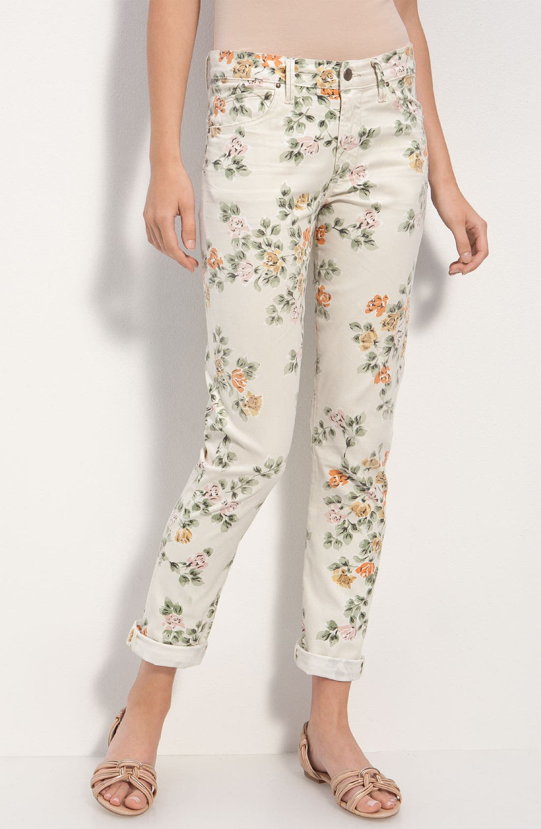 Alternate Image 3  - Citizens of Humanity 'Mandy' High Waist Slim Leg Floral Print Jeans (Natural Petite Rose)
