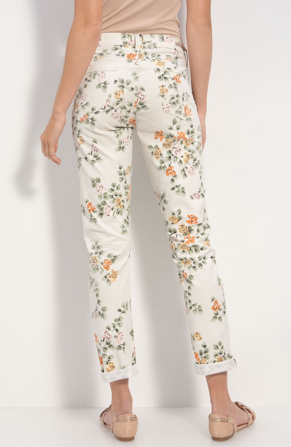 Main Image - Citizens of Humanity 'Mandy' High Waist Slim Leg Floral Print Jeans (Natural Petite Rose)