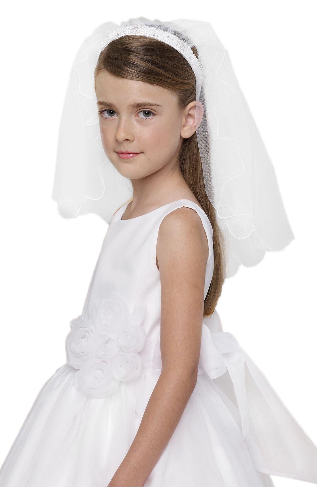 Alternate Image 1 Selected - Us Angels Beaded Communion Veil (Little Girls & Big Girls)