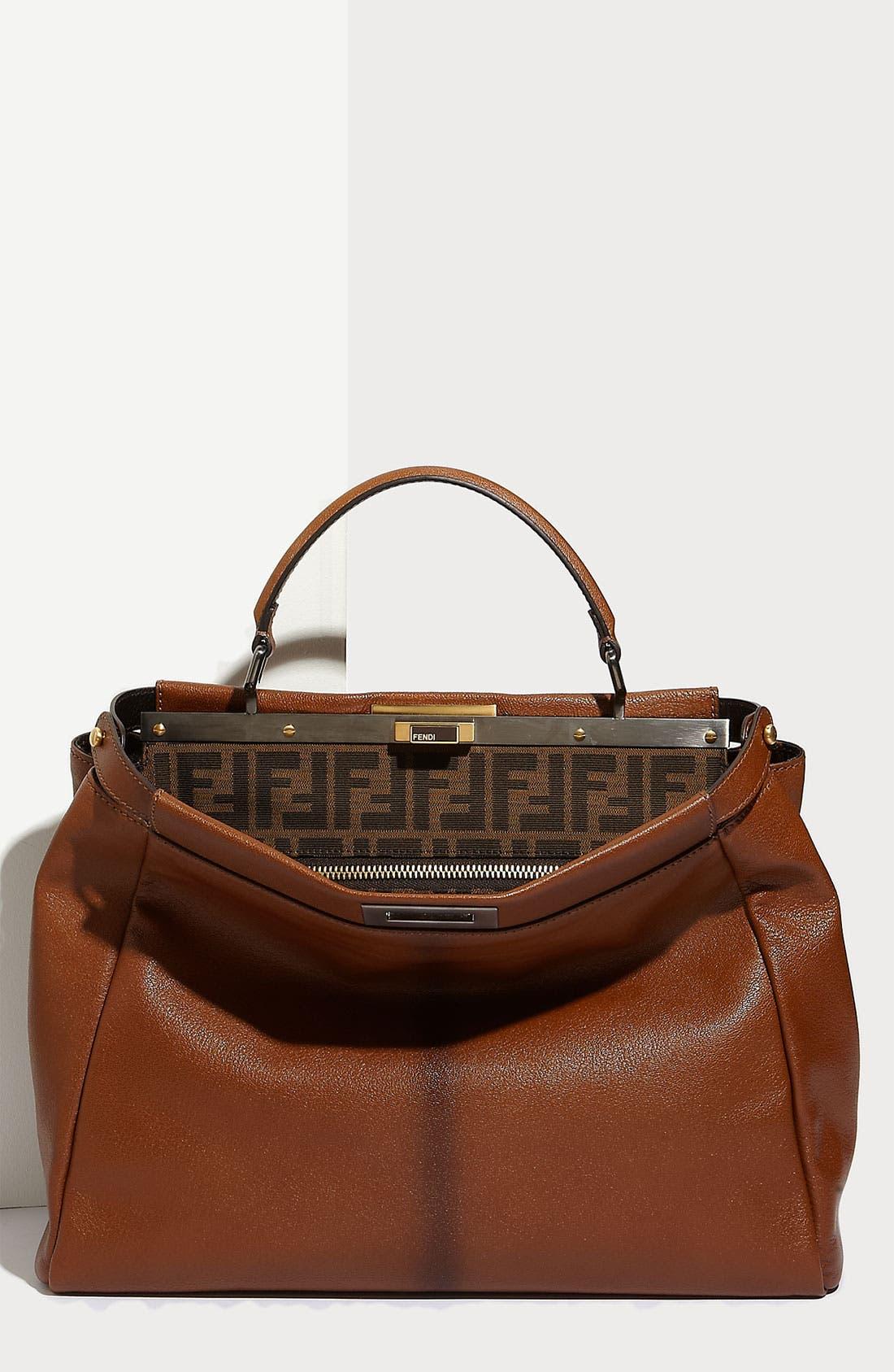 Main Image - Fendi 'Peekaboo - Large' Goatskin Leather Satchel