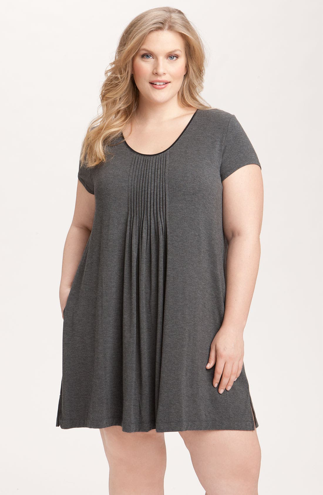Alternate Image 1 Selected - DKNY '7 Easy Pieces' Pintuck Sleep Shirt (Plus Size)