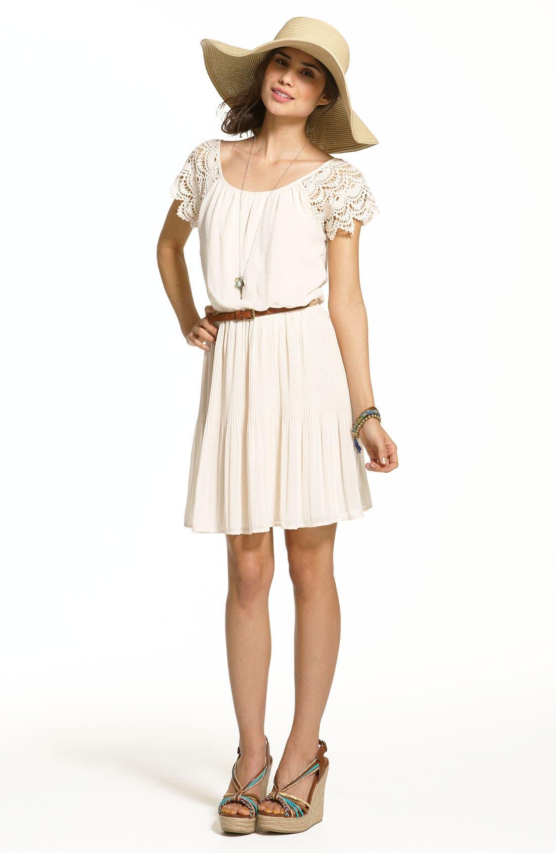 Alternate Image 4  - Lush Crochet Sleeve Blouson Dress (Juniors)