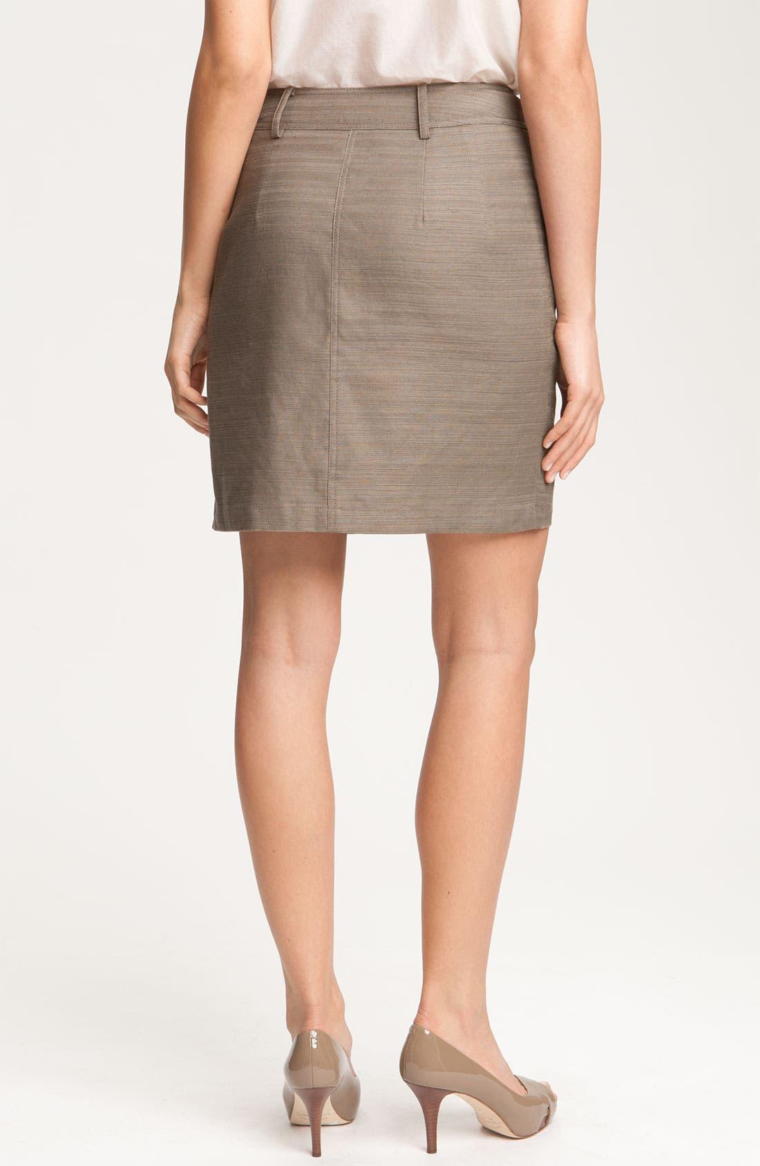 Alternate Image 2  - Anne Klein Button Front Slub Weave Skirt