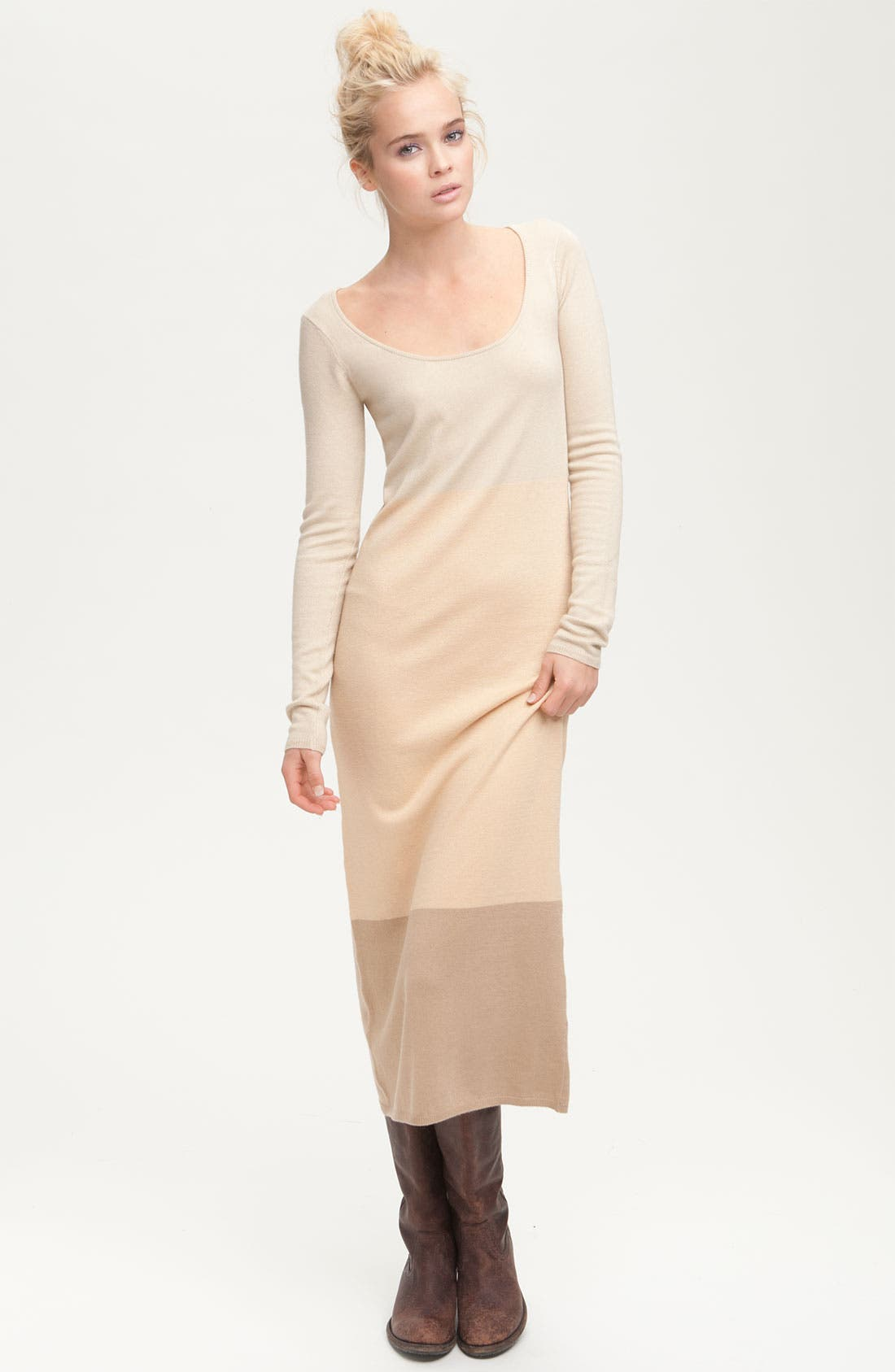 Alternate Image 1 Selected - Paper Crown 'Clove' Long Sleeve Colorblock Maxi Dress