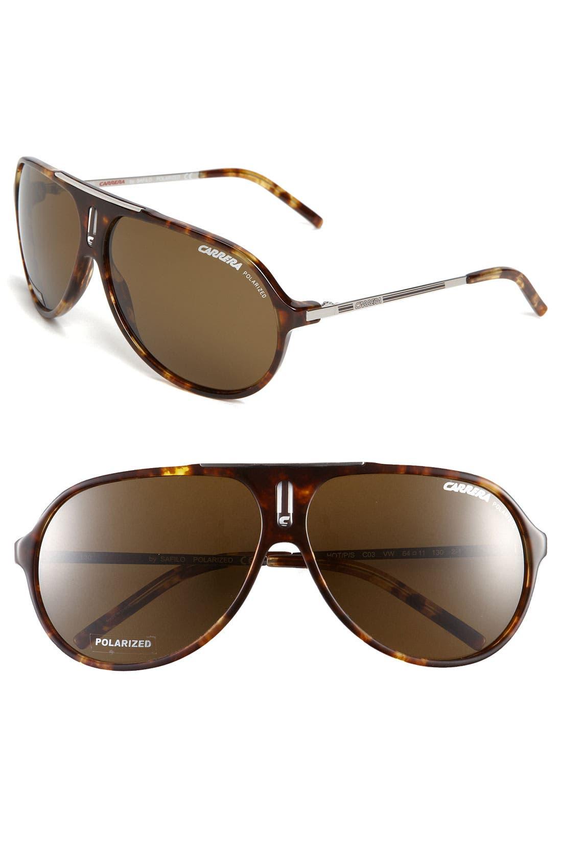 Alternate Image 1 Selected - Carrera Eyewear 'Hot' 64mm Polarized Aviator Sunglasses