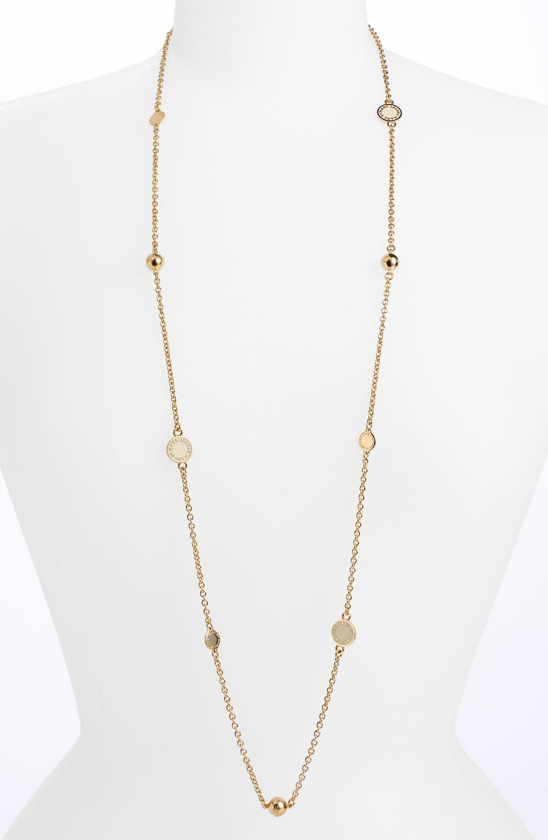 'Classic Marc' Long Necklace,                             Main thumbnail 1, color,                             Cream/ Gold