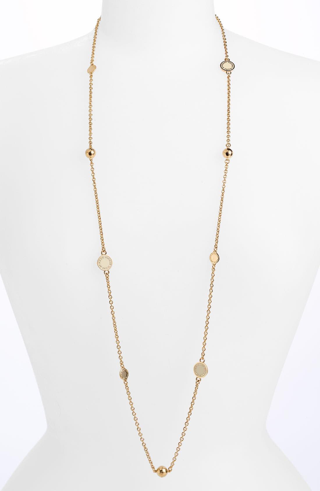 'Classic Marc' Long Necklace,                         Main,                         color, Cream/ Gold