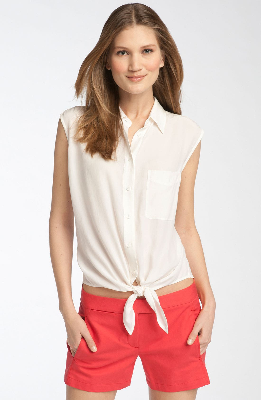 Main Image - Equipment 'Diem' Tie Front Sleeveless Silk Blouse