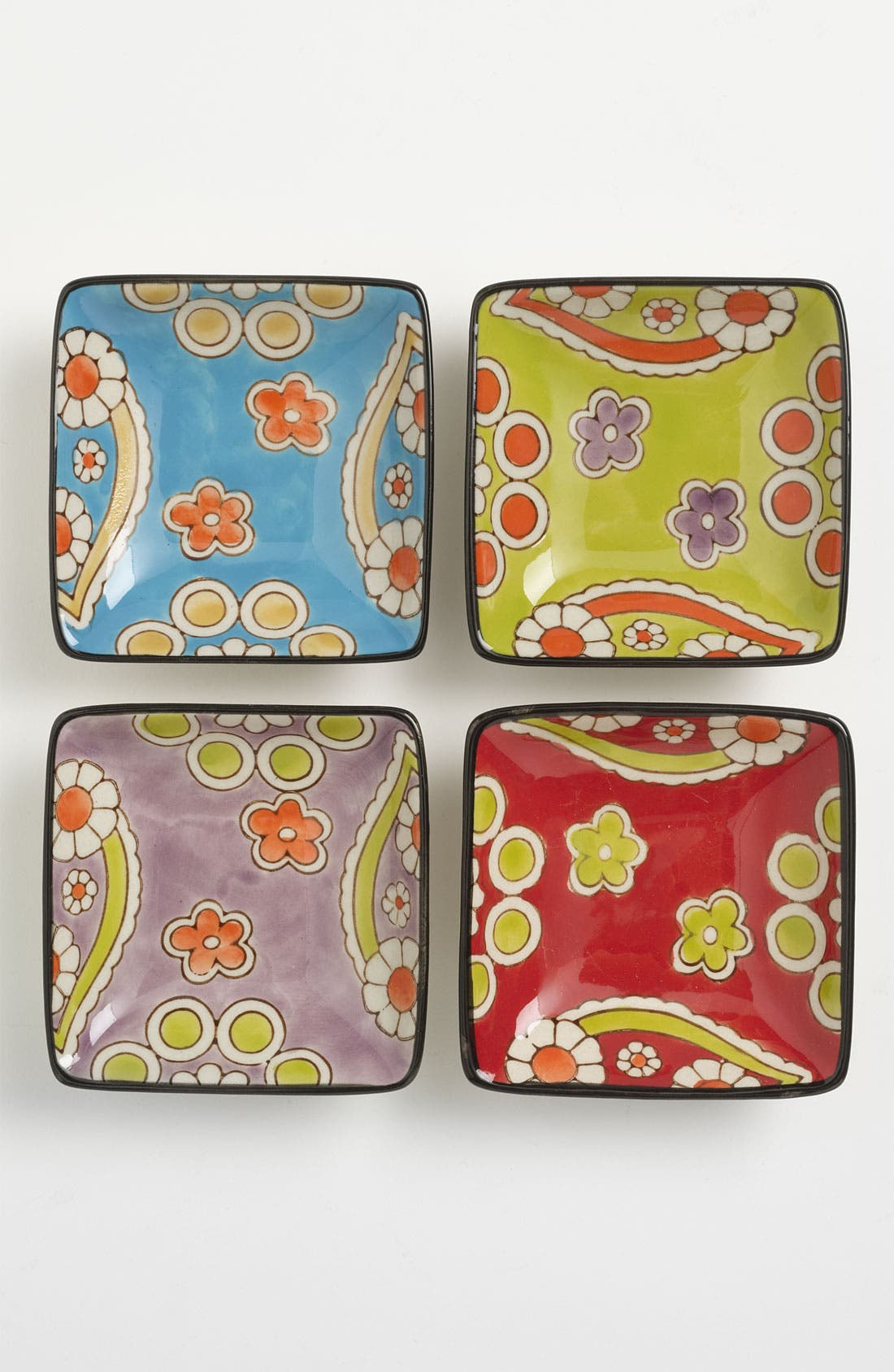 Alternate Image 1 Selected - Hand-Painted 'Lotus' Appetizer Plates (Set of 4)