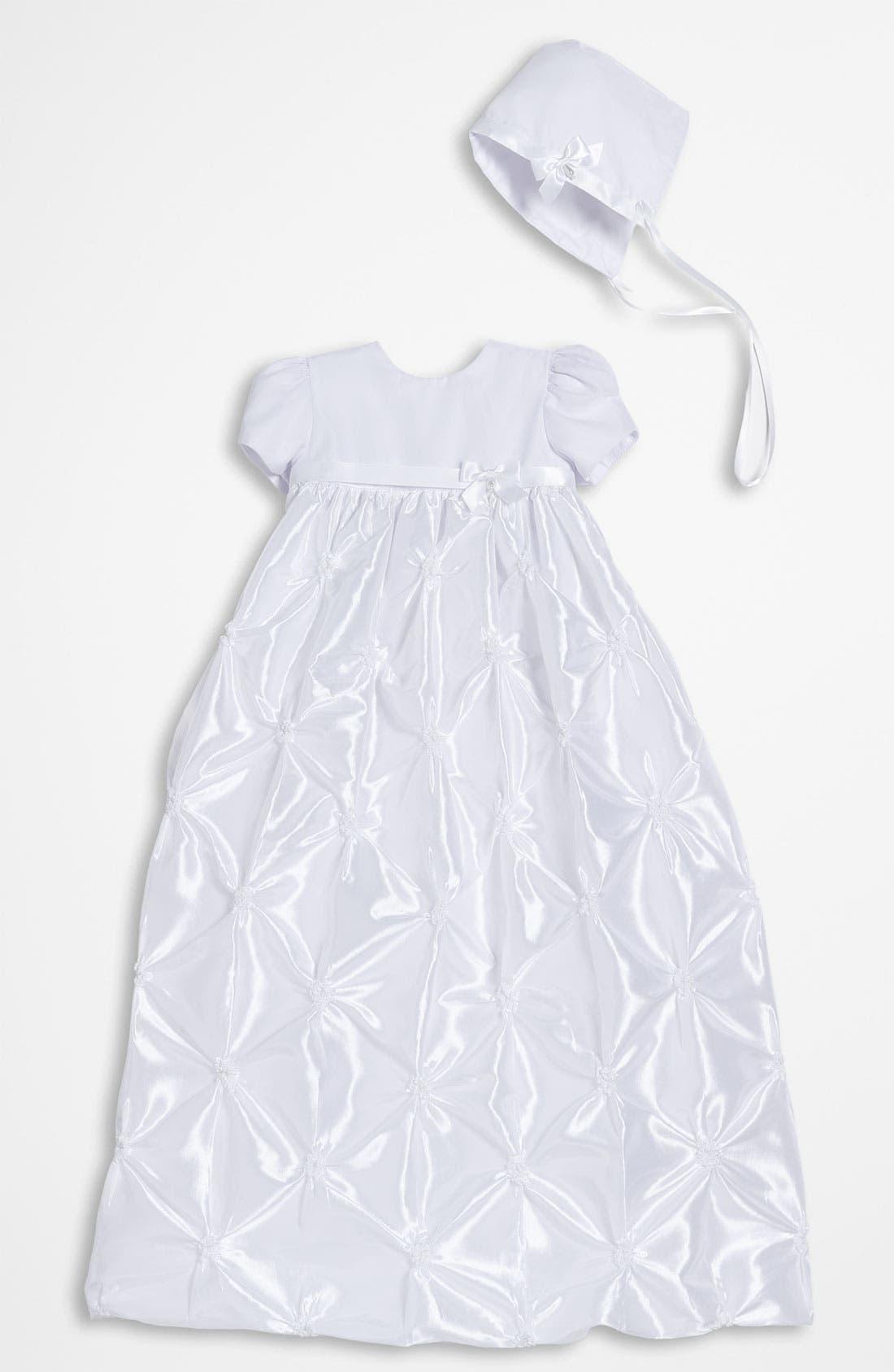 Taffeta Gown & Bonnet,                         Main,                         color, White