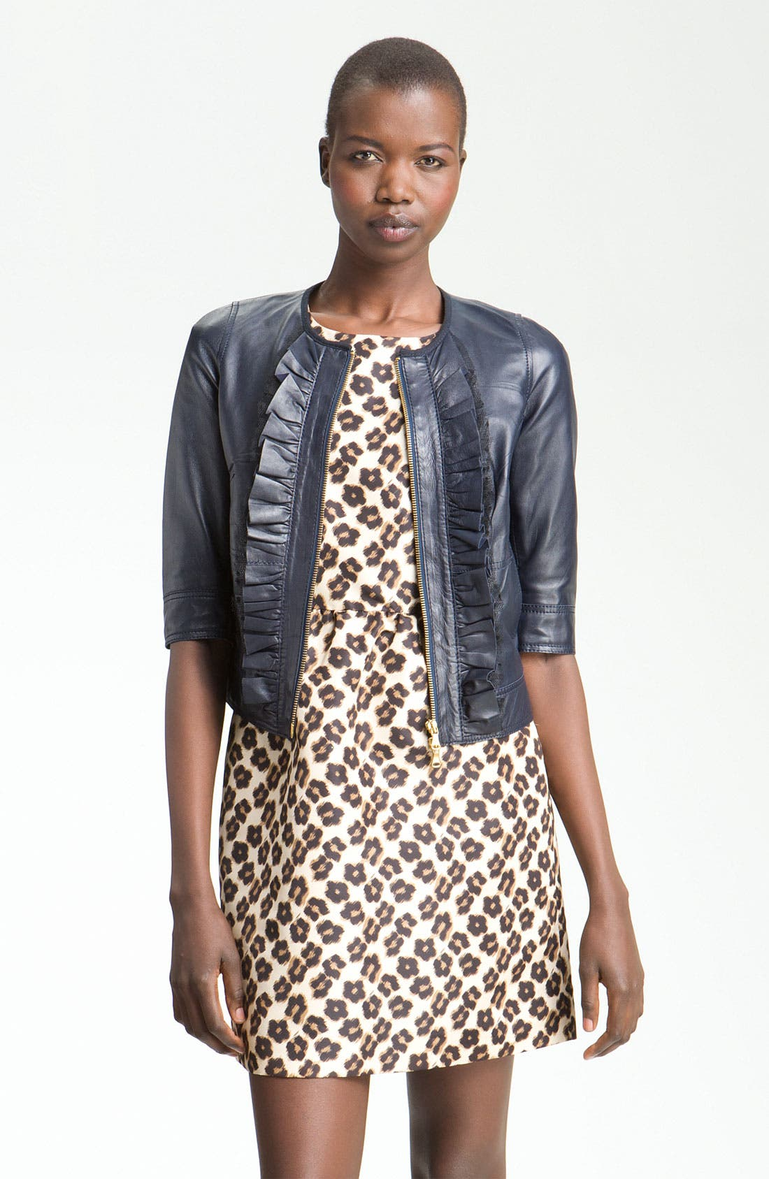 Main Image - RED Valentino Crop Lambskin Leather Jacket