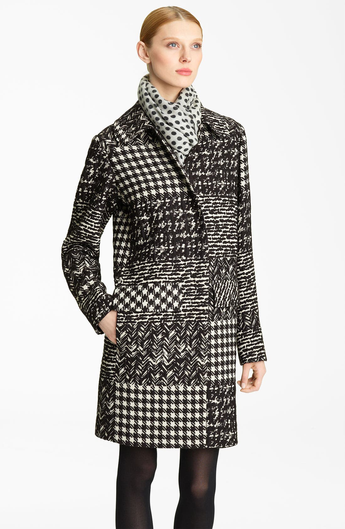 Alternate Image 1 Selected - Oscar de la Renta Tweed & Matelassé Patchwork Coat