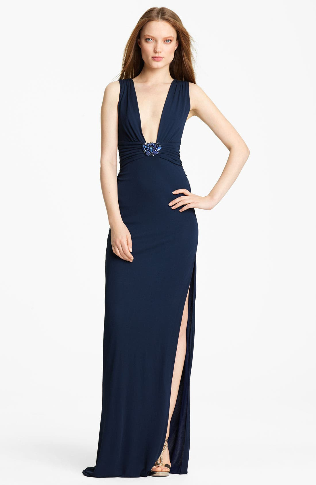 Main Image - Roberto Cavalli Embellished Jersey Gown