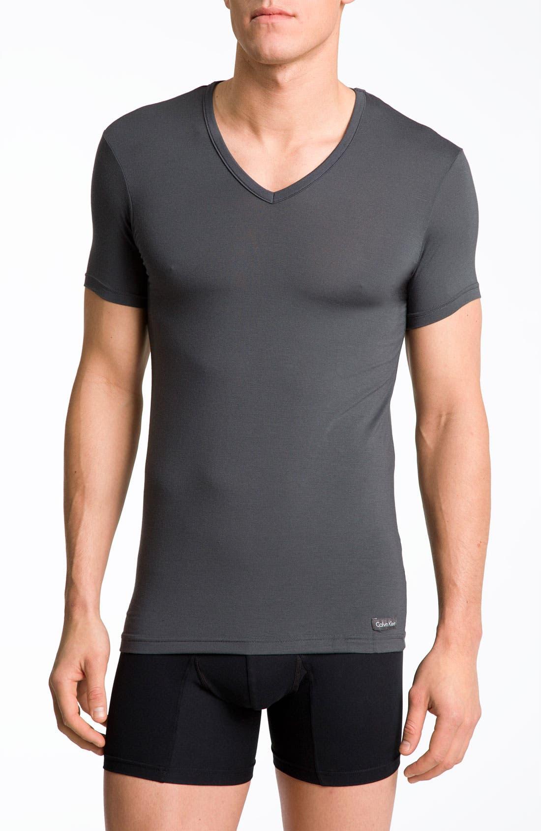 'U5563' V-Neck Micromodal T-Shirt,                         Main,                         color, Mink