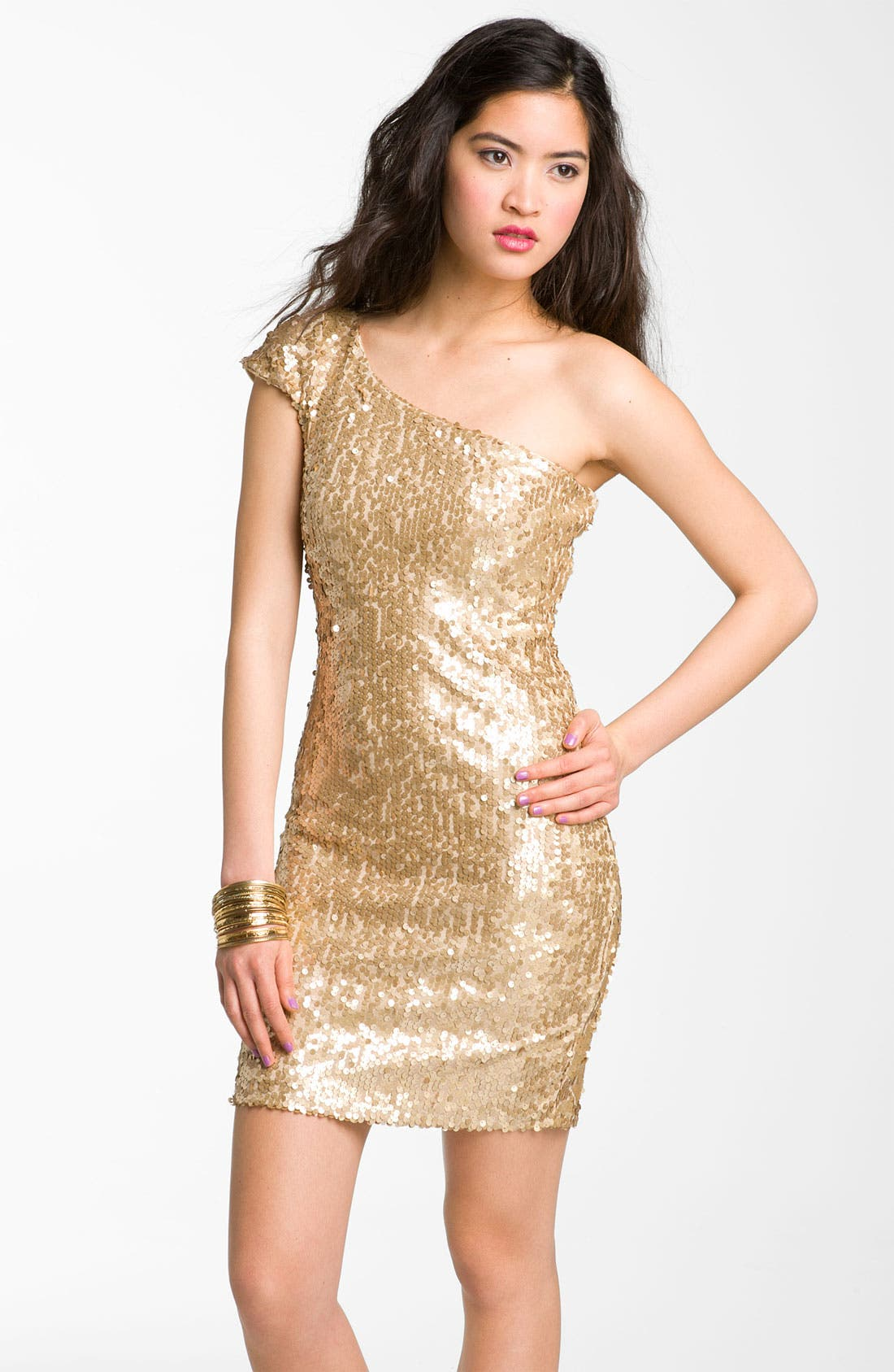 Alternate Image 1 Selected - Jump Apparel One Shoulder Sequin Dress (Juniors)