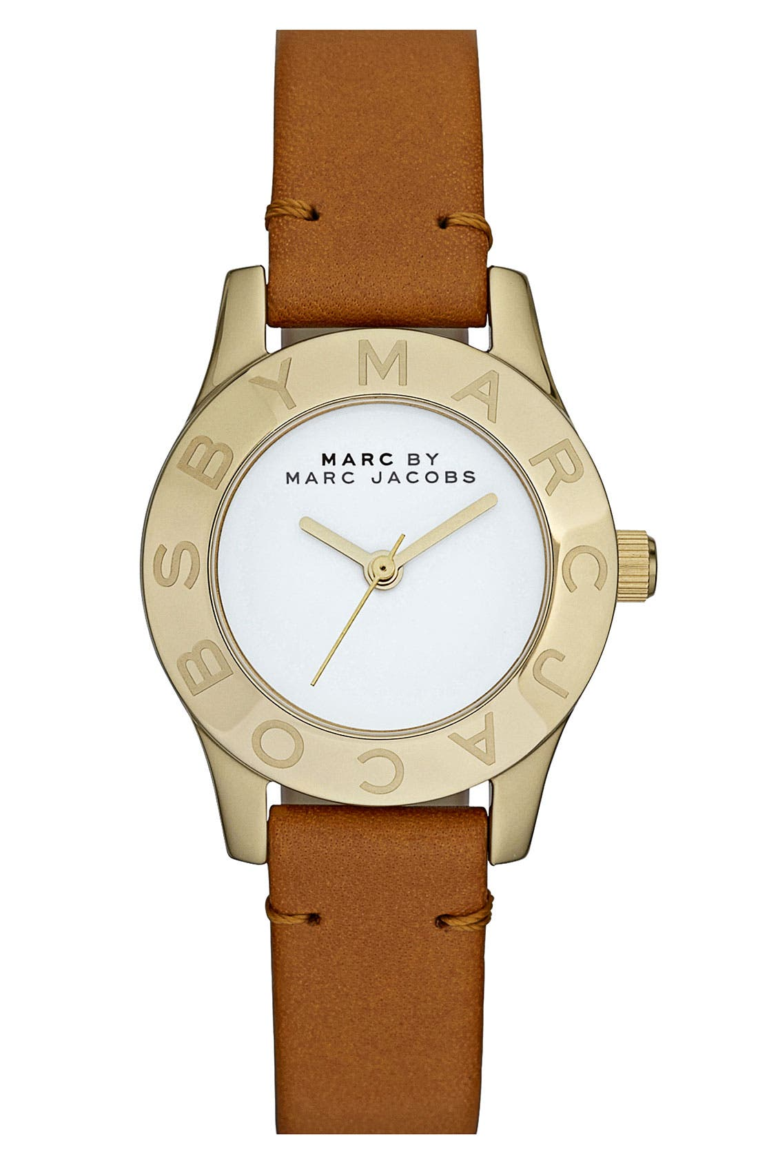 Alternate Image 1 Selected - MARC BY MARC JACOBS 'Small Blade' Leather Strap Watch, 26mm