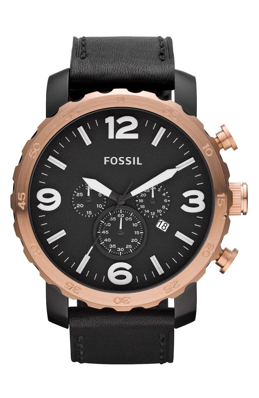 Alternate Image 1 Selected - Fossil 'Nate' Chronograph Leather Strap Watch, 50mm