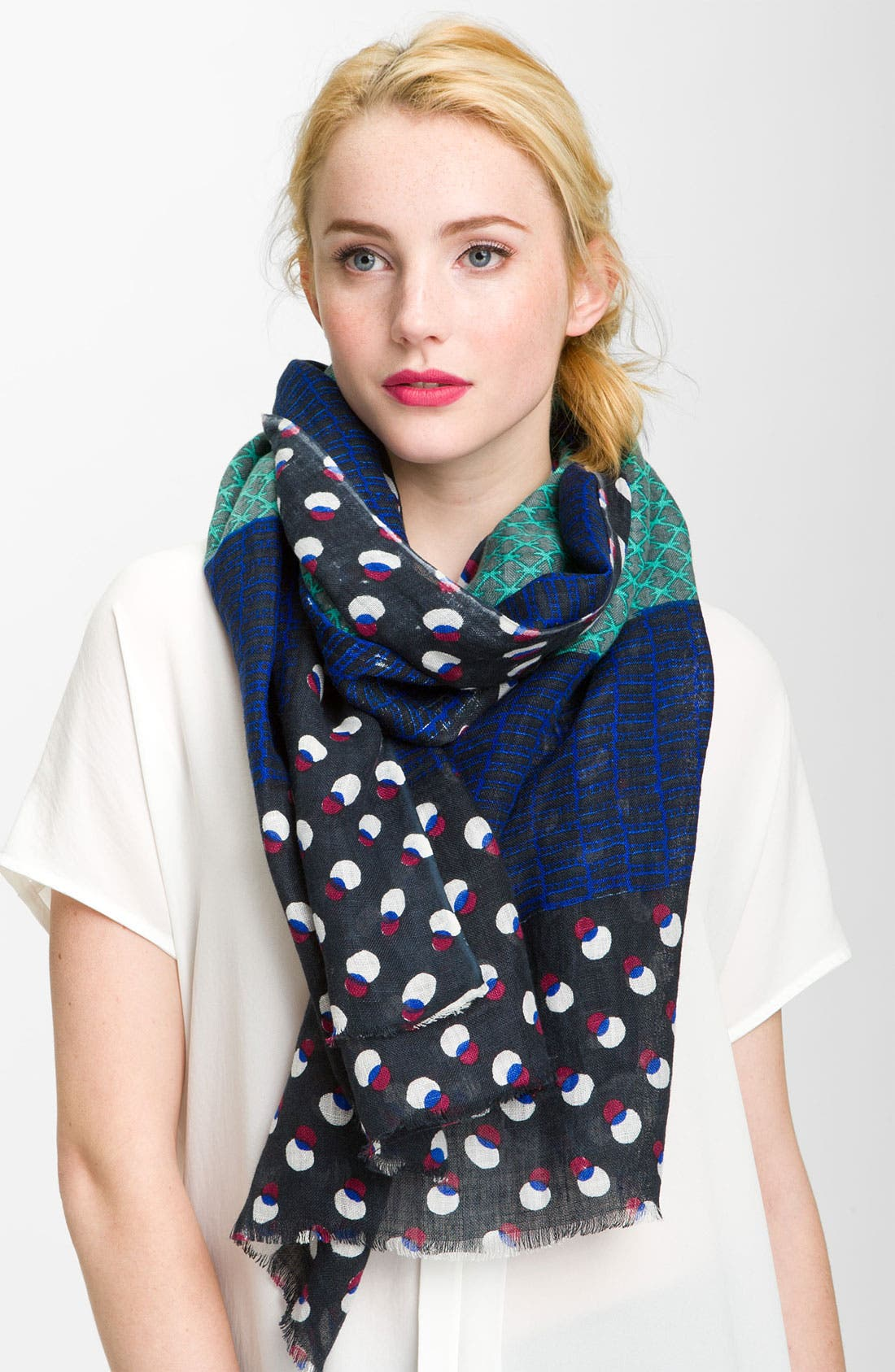 Main Image - Tory Burch Combination Print Linen Scarf