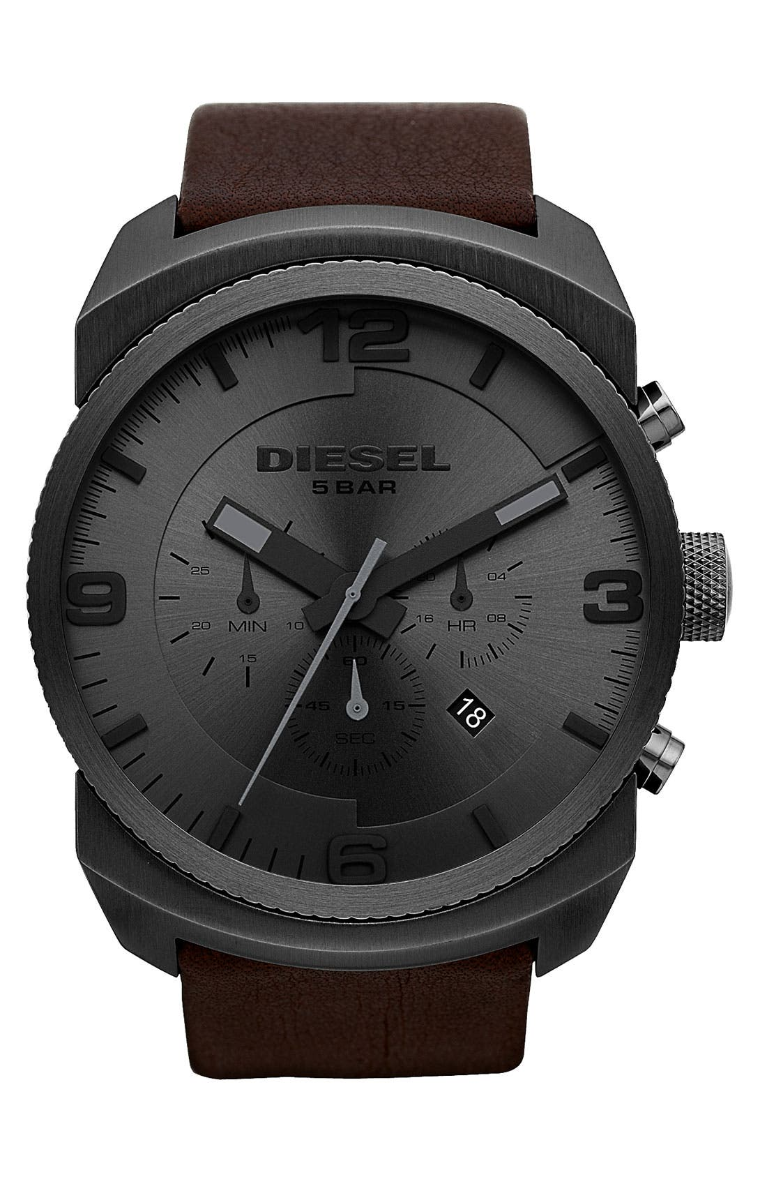 Main Image - DIESEL® 'F Stop' Chronograph Leather Strap Watch, 47mm