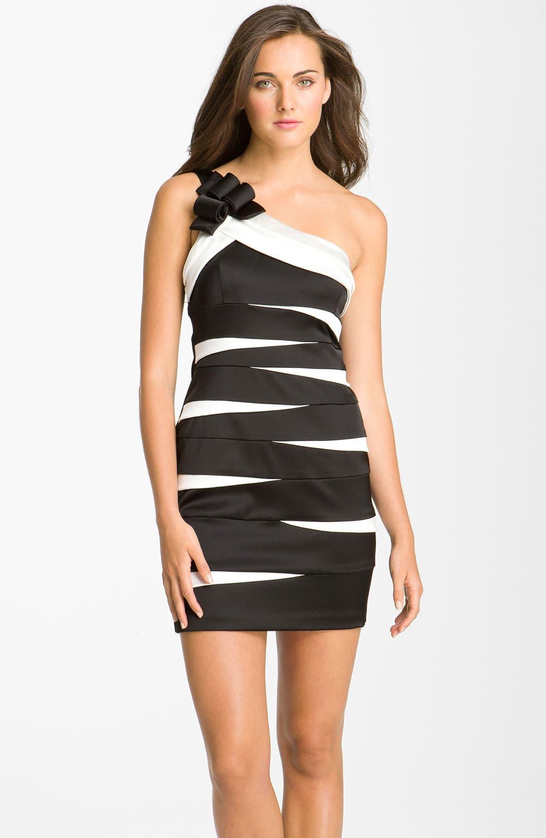 Alternate Image 1 Selected - Betsy & Adam One Shoulder Banded Satin Sheath Dress