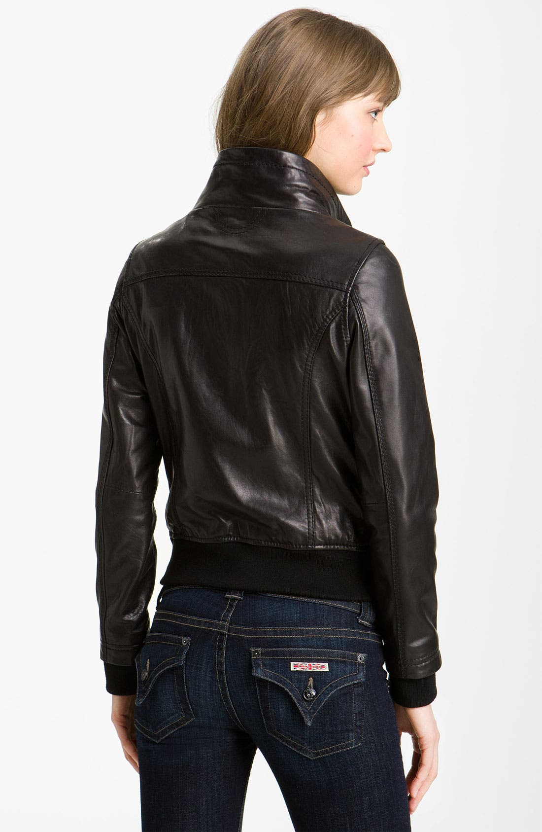 Alternate Image 2  - MICHAEL Michael Kors Knit Trim Leather Bomber Jacket