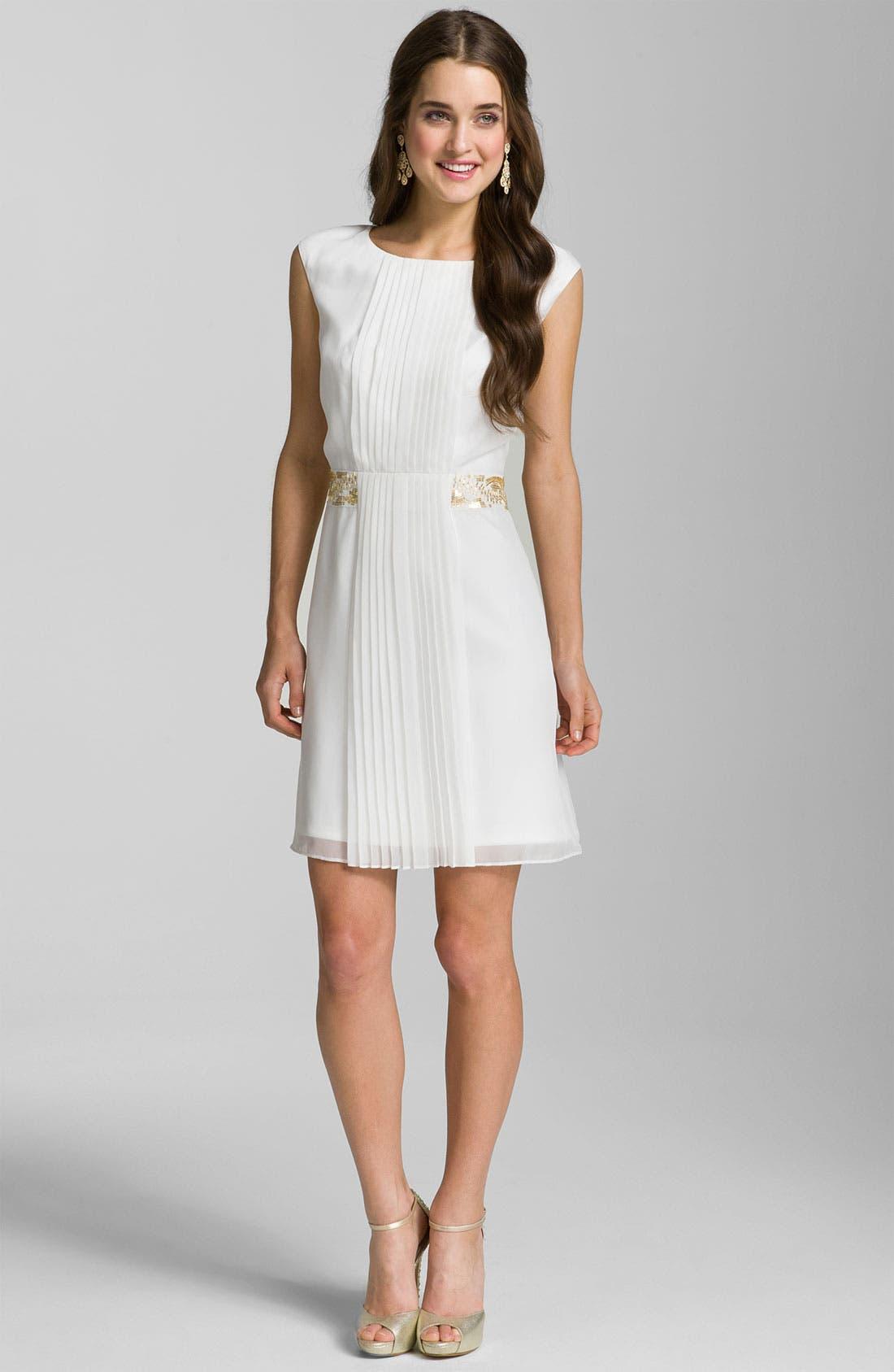 Alternate Image 1 Selected - Calvin Klein Pleat Front Chiffon Dress