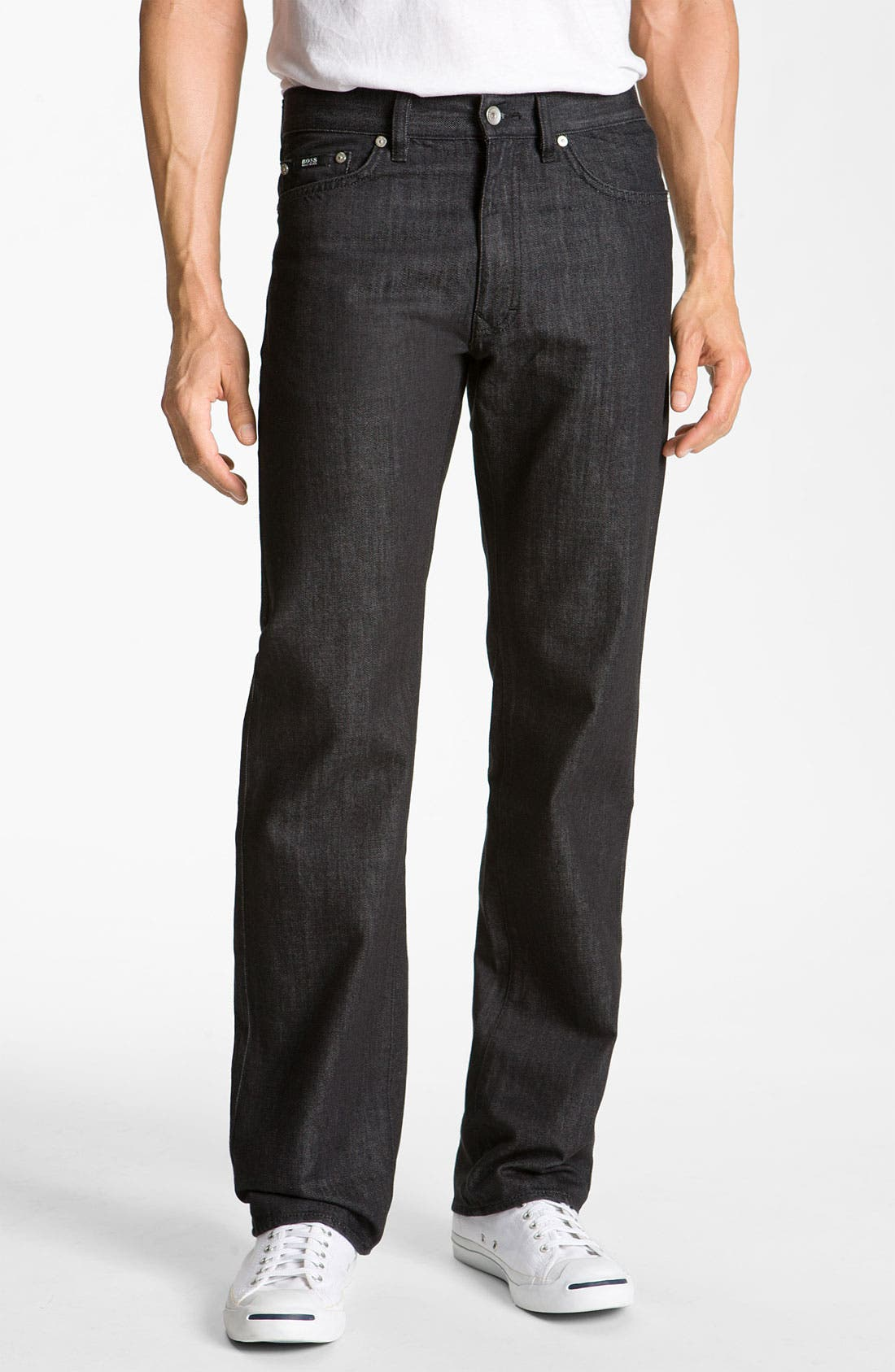 Alternate Image 1 Selected - BOSS Black 'Texas' Bootcut Jeans (Black)